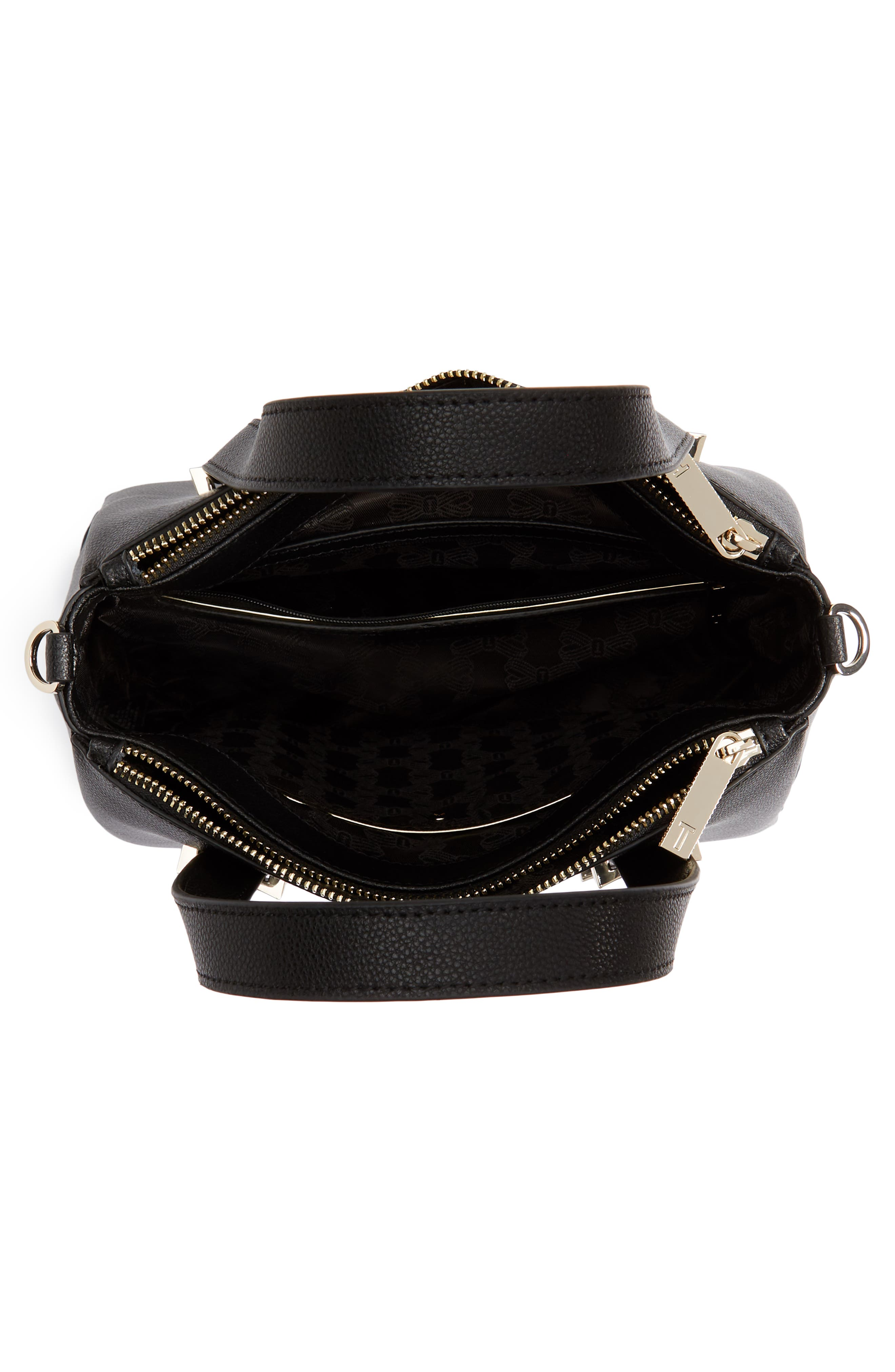 Julieet Large Adjustable Handle Leather Satchel,                             Alternate thumbnail 4, color,                             BLACK
