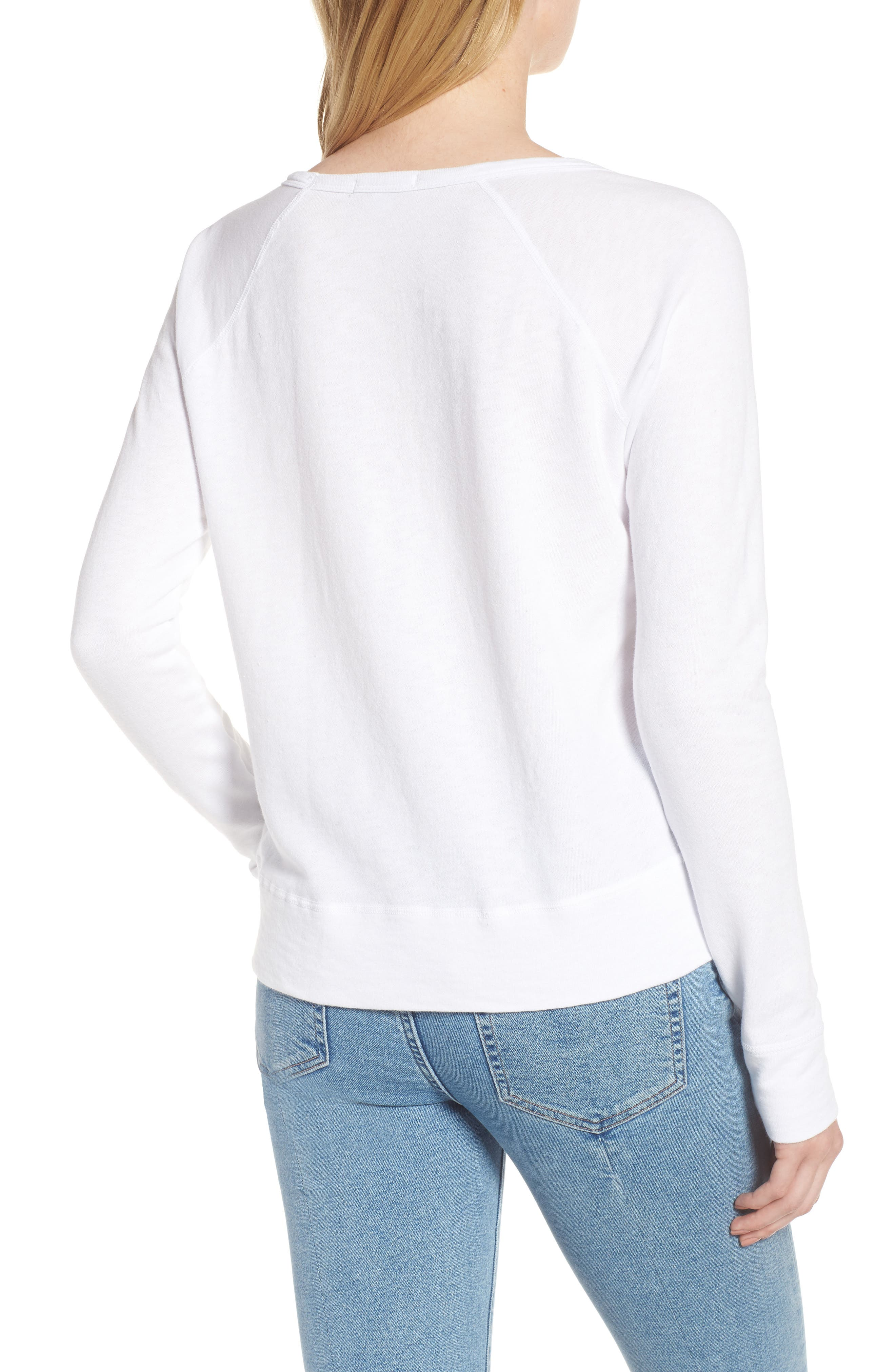 JAMES PERSE,                             Classic Raglan Sweatshirt,                             Alternate thumbnail 2, color,                             100