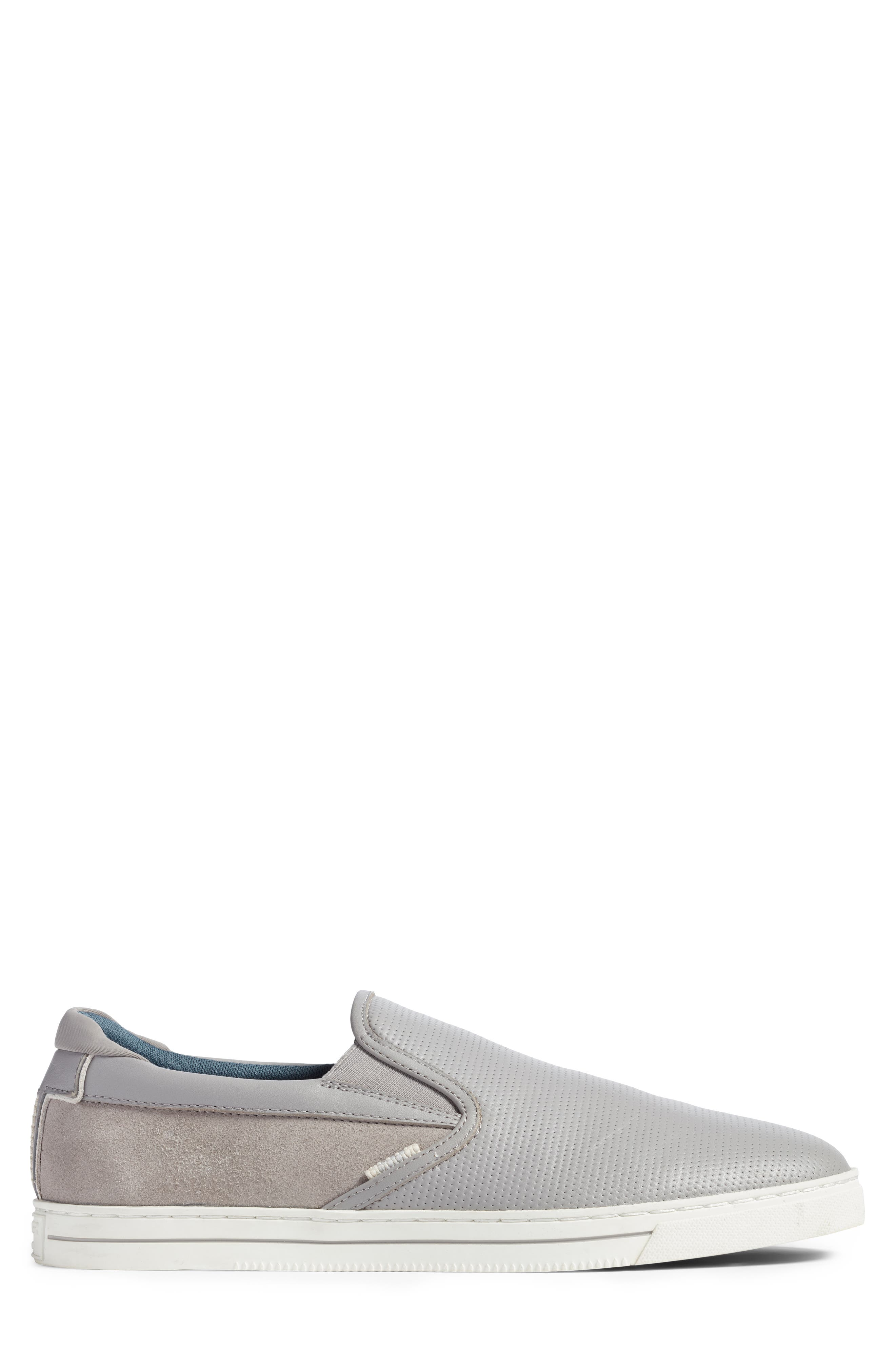 Patroy Perforated Slip-On Sneaker,                             Alternate thumbnail 3, color,                             LIGHT GREY LEATHER