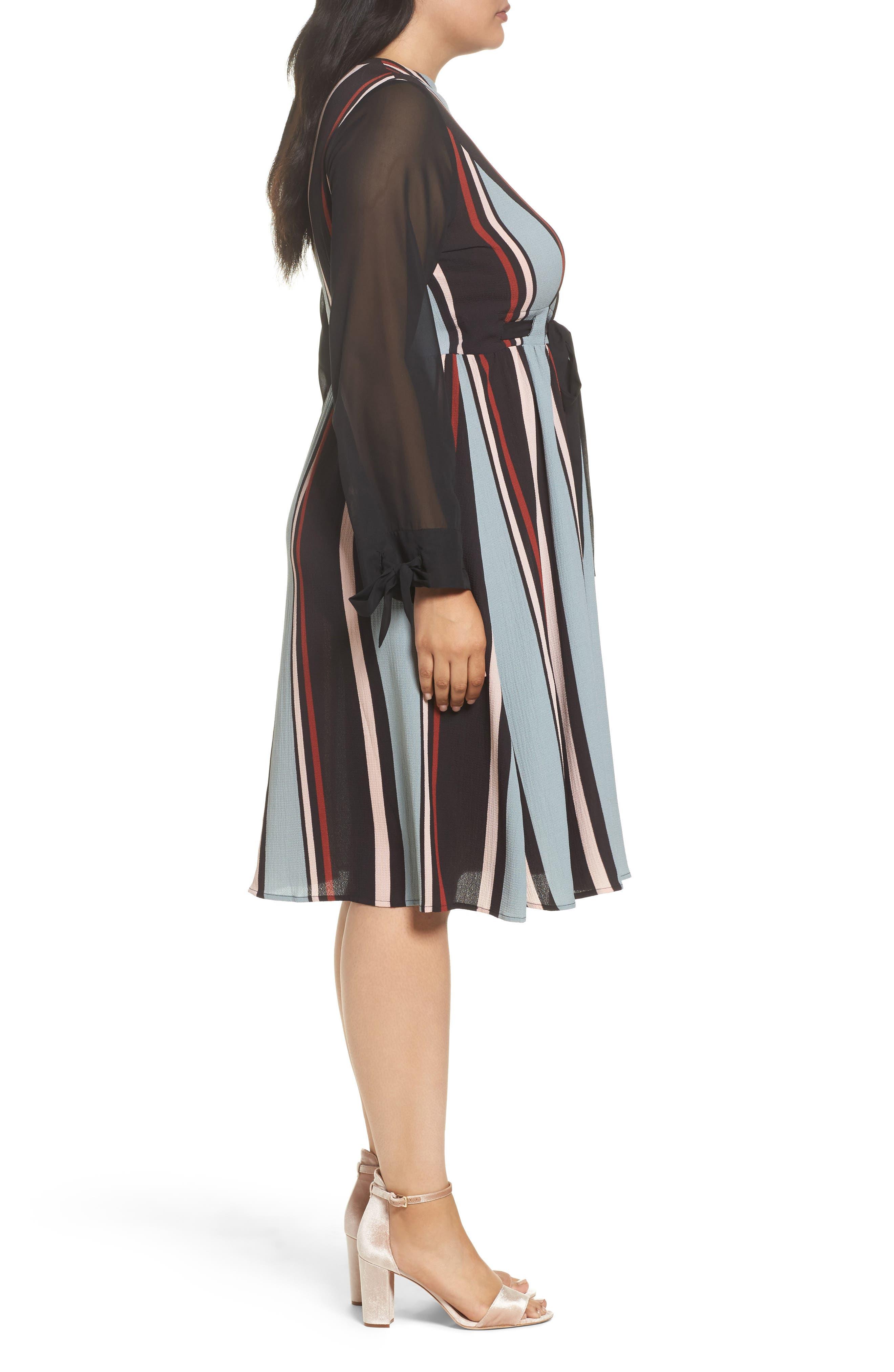 Stripe Fit & Flare Dress,                             Alternate thumbnail 3, color,                             001