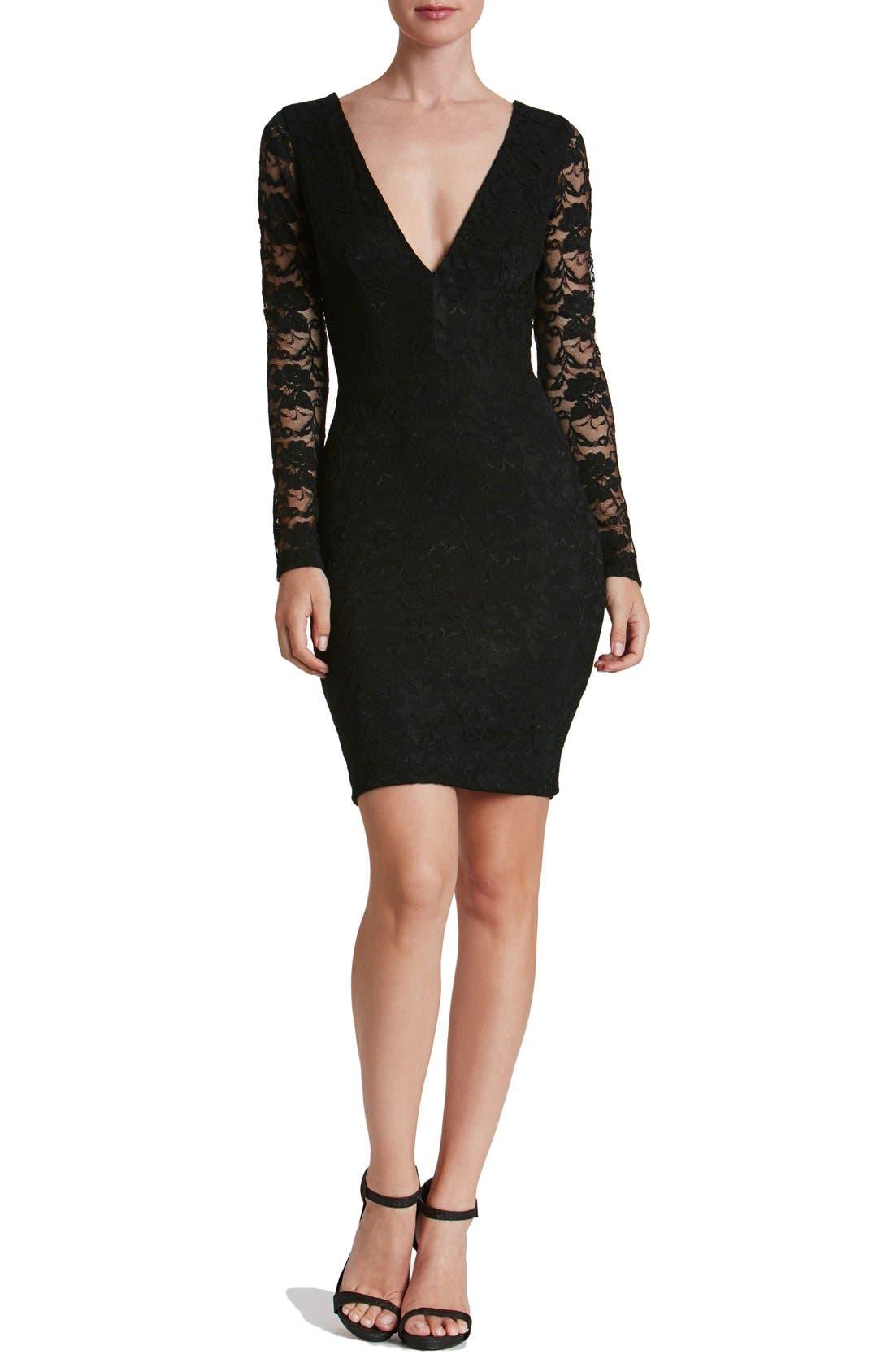 'Erica' Plunge Neck Lace Body-Con Dress,                             Alternate thumbnail 4, color,                             008