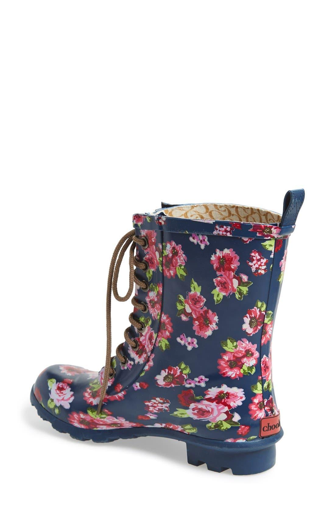 Floral Print Combat Rain Boot,                             Alternate thumbnail 3, color,                             421