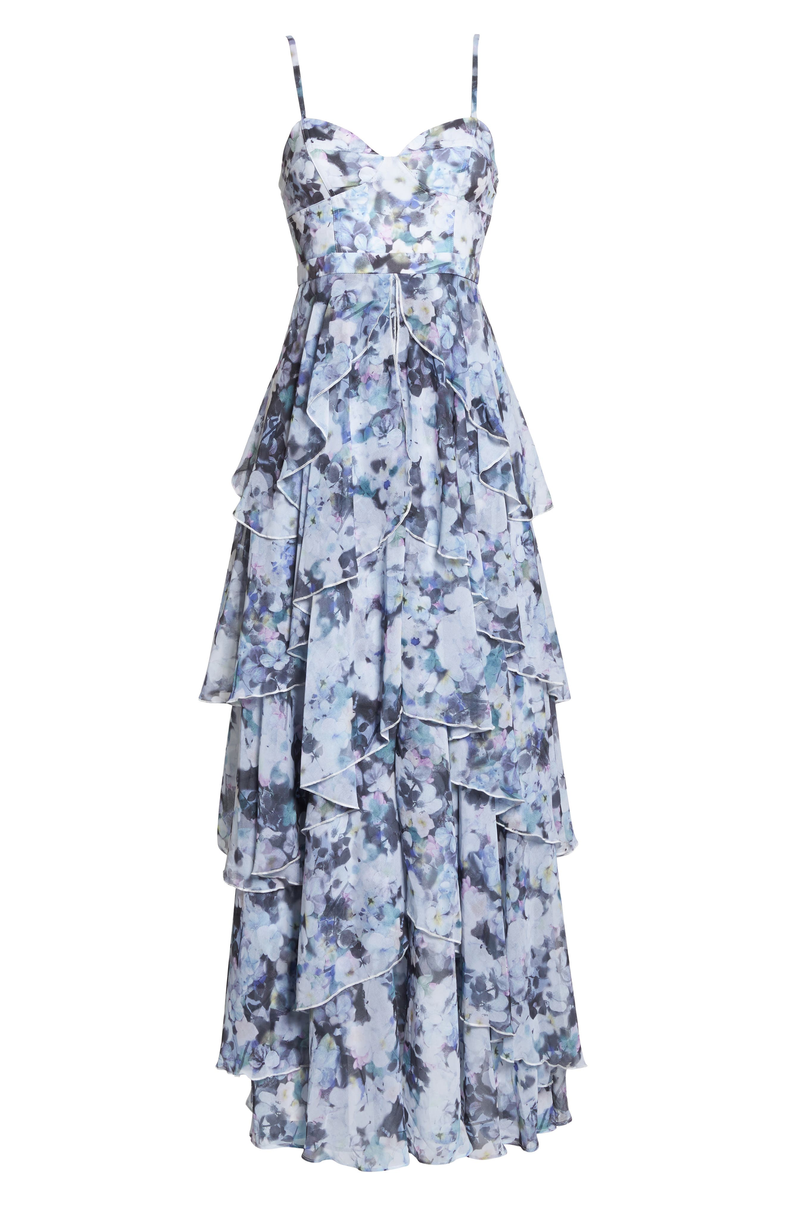 Catherine Floral Print Gown,                             Alternate thumbnail 7, color,                             450