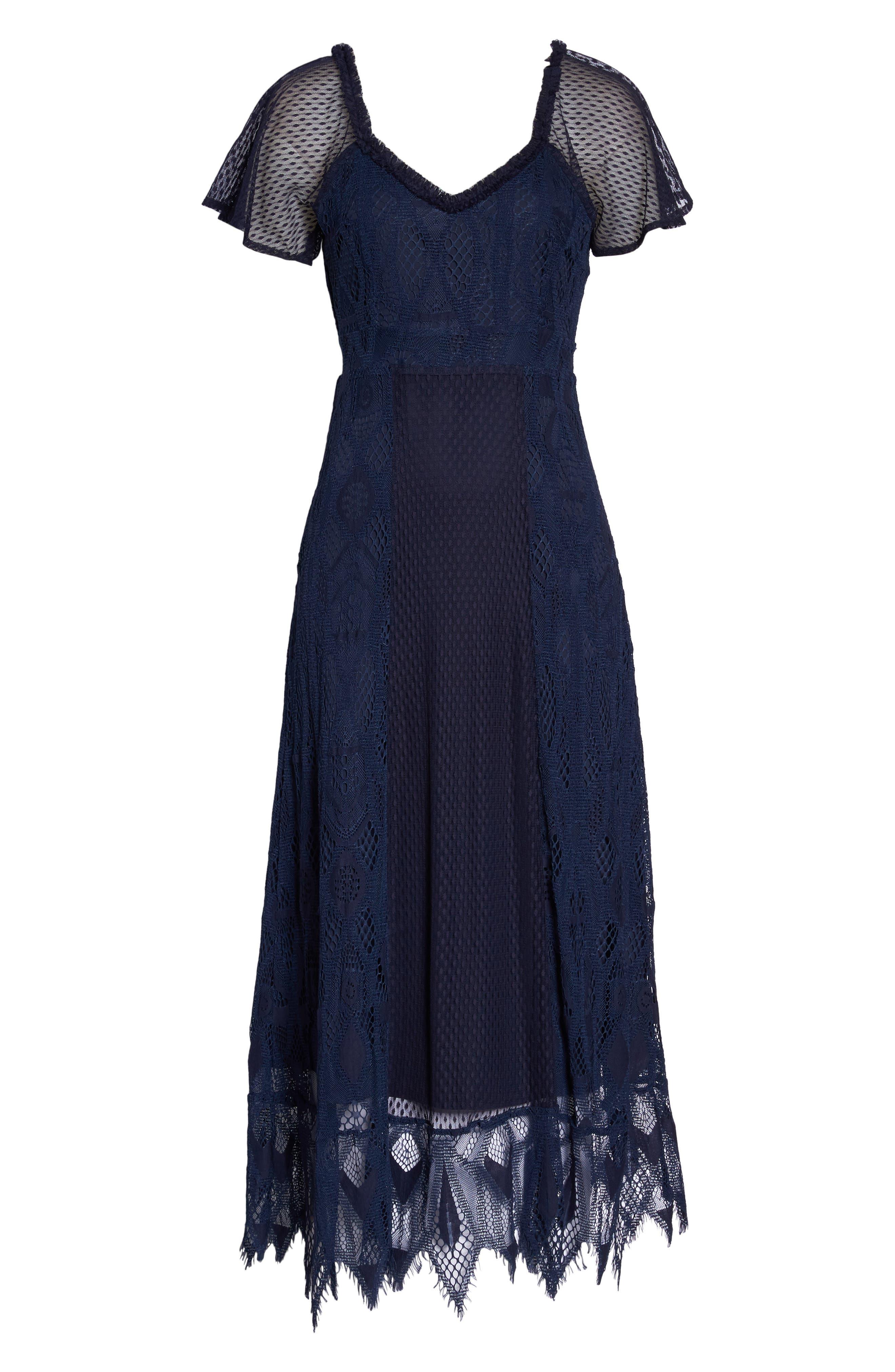 Gloria Lace Midi Dress,                             Alternate thumbnail 7, color,                             410