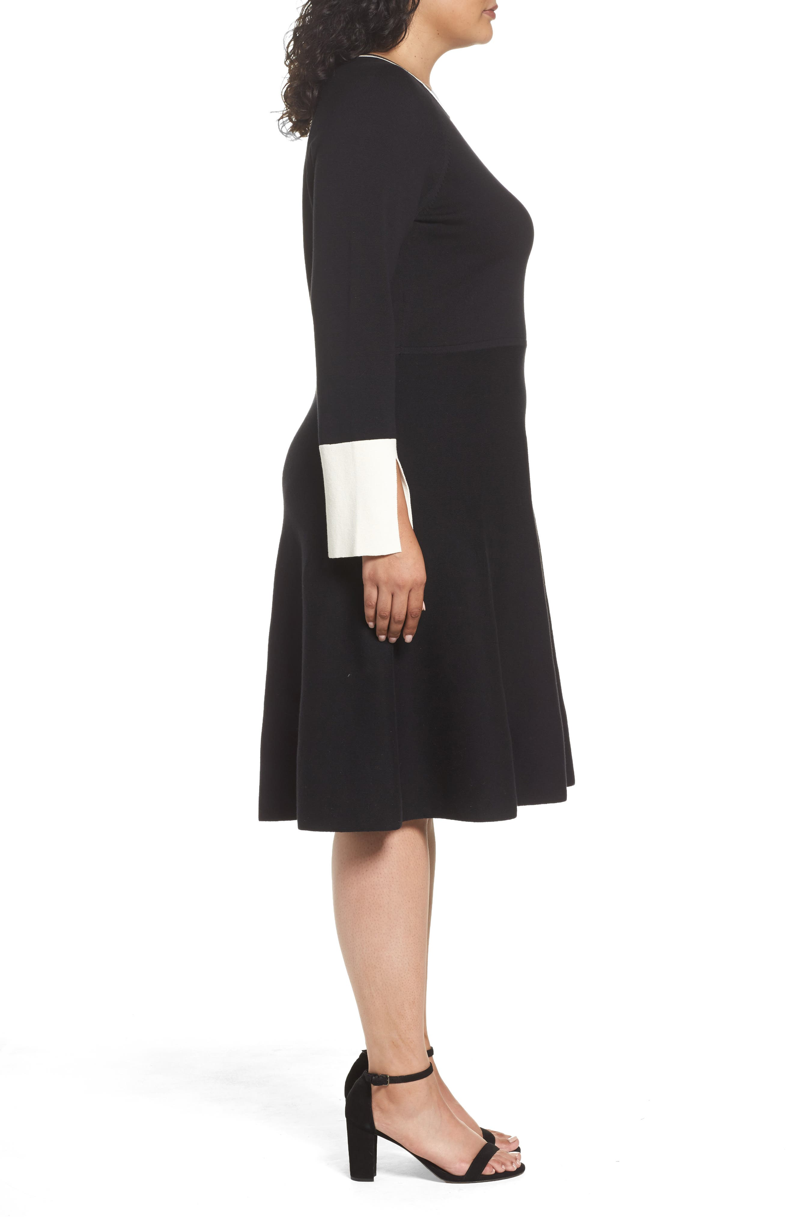 Fit & Flare Sweater Dress,                             Alternate thumbnail 3, color,                             019