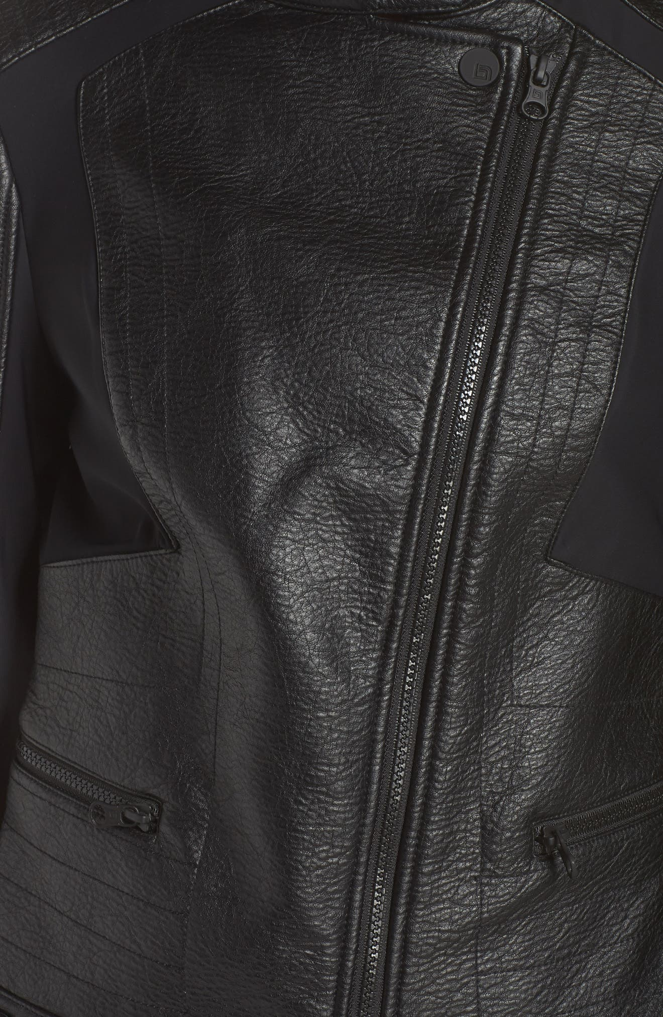 Ryder Faux Leather Moto Jacket,                             Alternate thumbnail 7, color,                             BLACK/ GREY