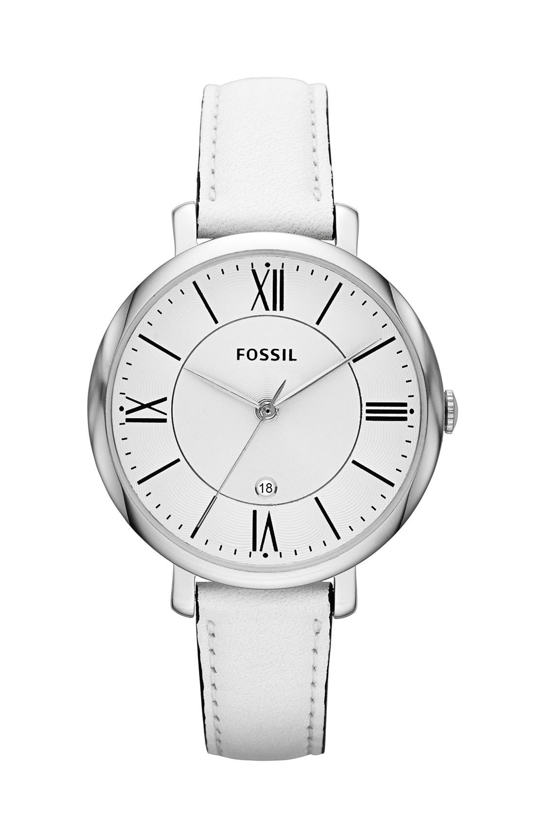'Jacqueline' Round Leather Strap Watch, 36mm,                             Main thumbnail 4, color,