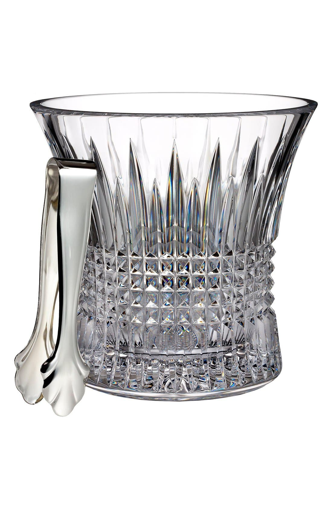 'Lismore Diamond' Lead Crystal Ice Bucket & Tongs,                             Main thumbnail 1, color,                             100