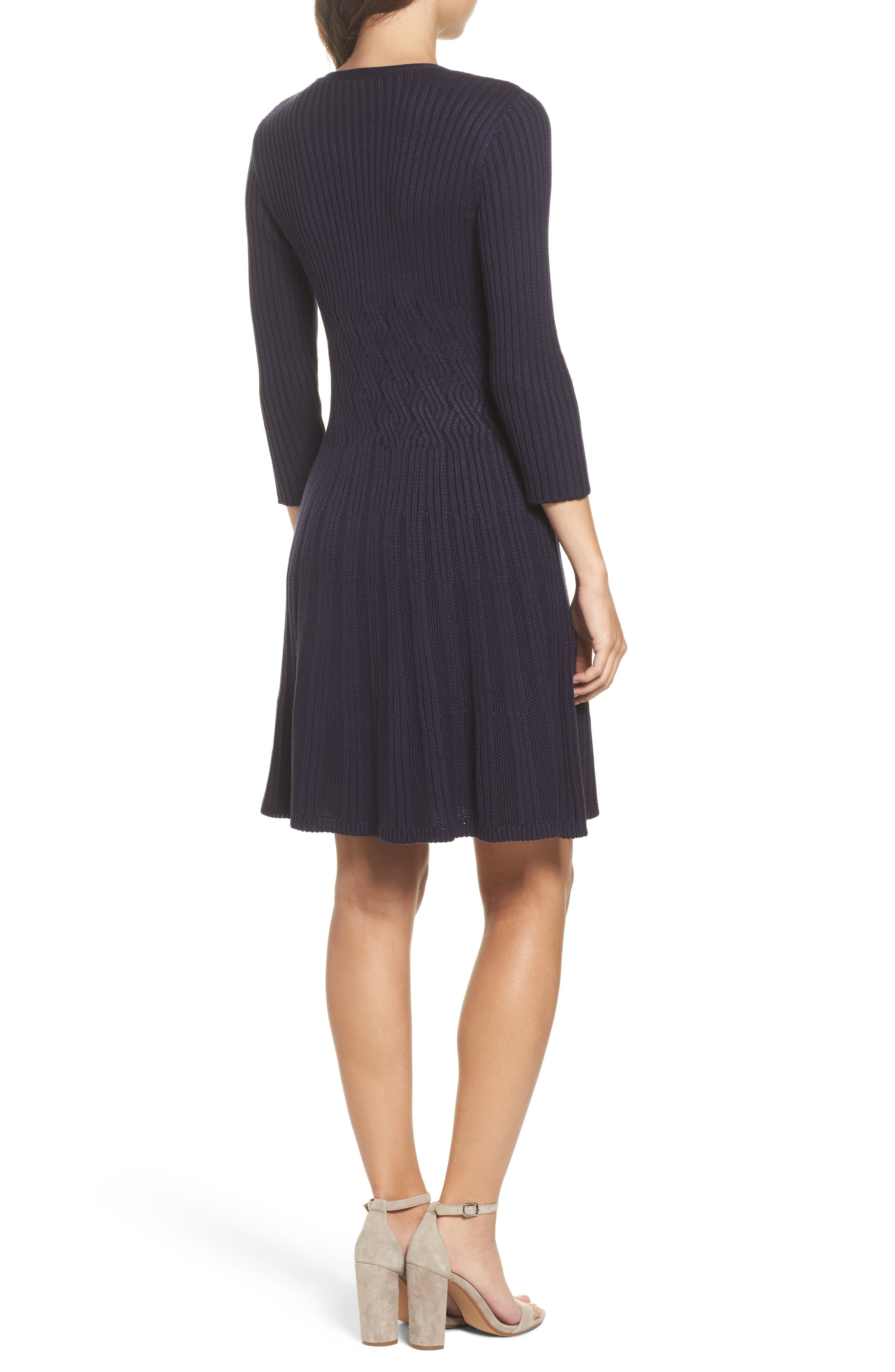 Ribbed Fit & Flare Dress,                             Alternate thumbnail 4, color,