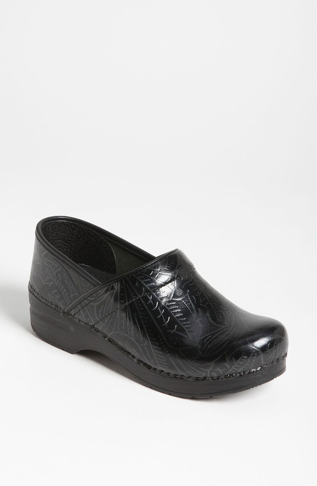 'Professional Tooled' Clog,                         Main,                         color, BLACK TOOLED