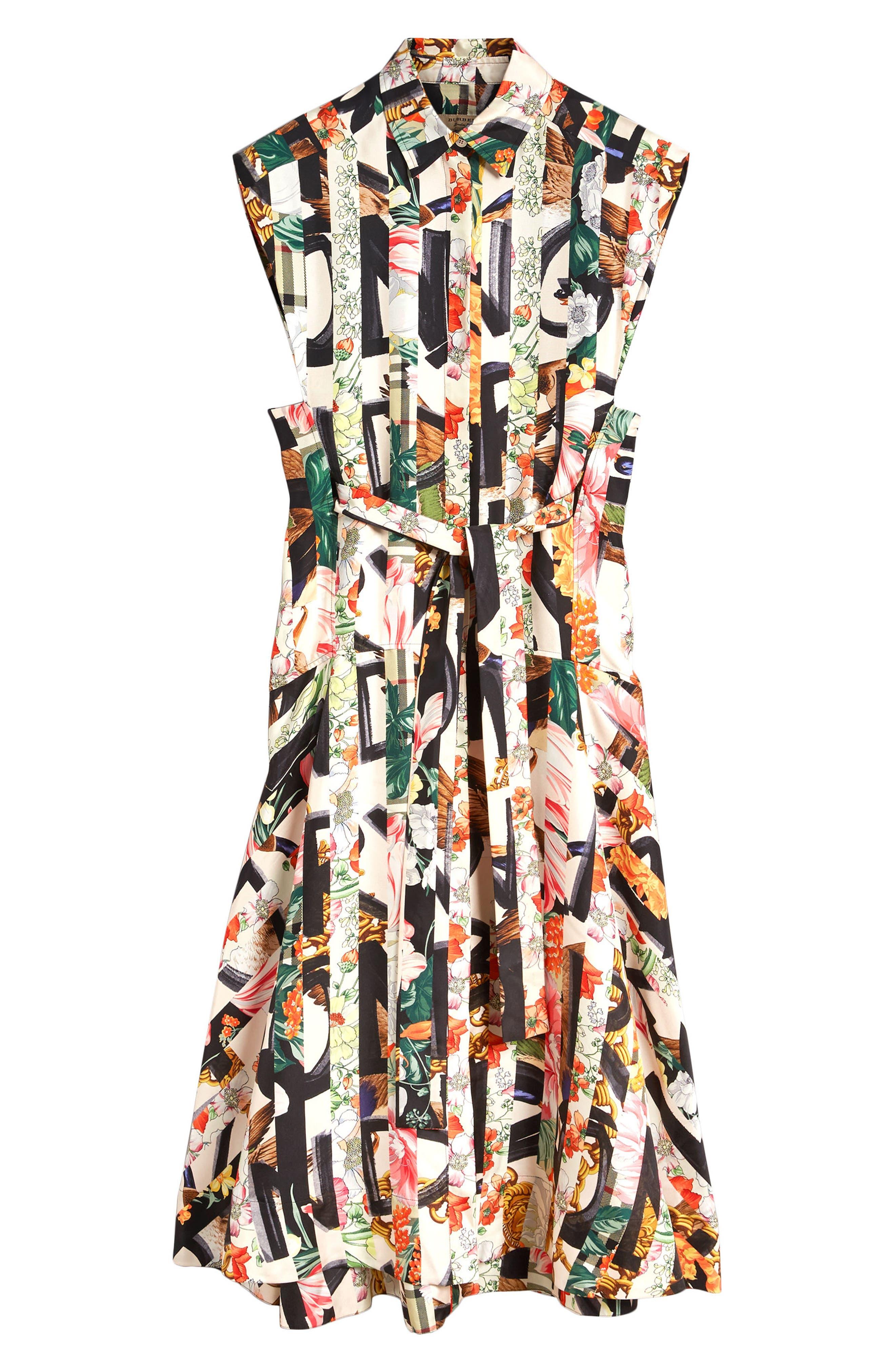 Sacha Silk Dress,                             Alternate thumbnail 8, color,                             MULTICOLOUR IP PTTN