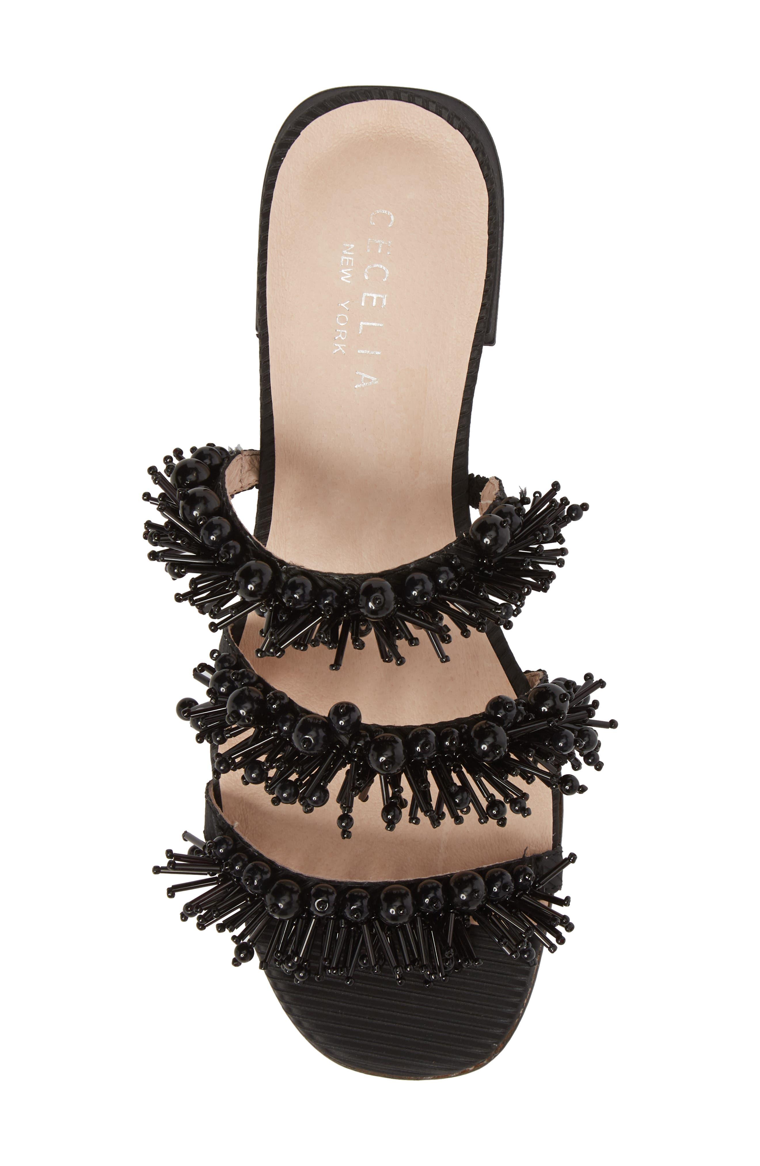 Fes Embellished Slide Sandal,                             Alternate thumbnail 5, color,                             BLACK FABRIC