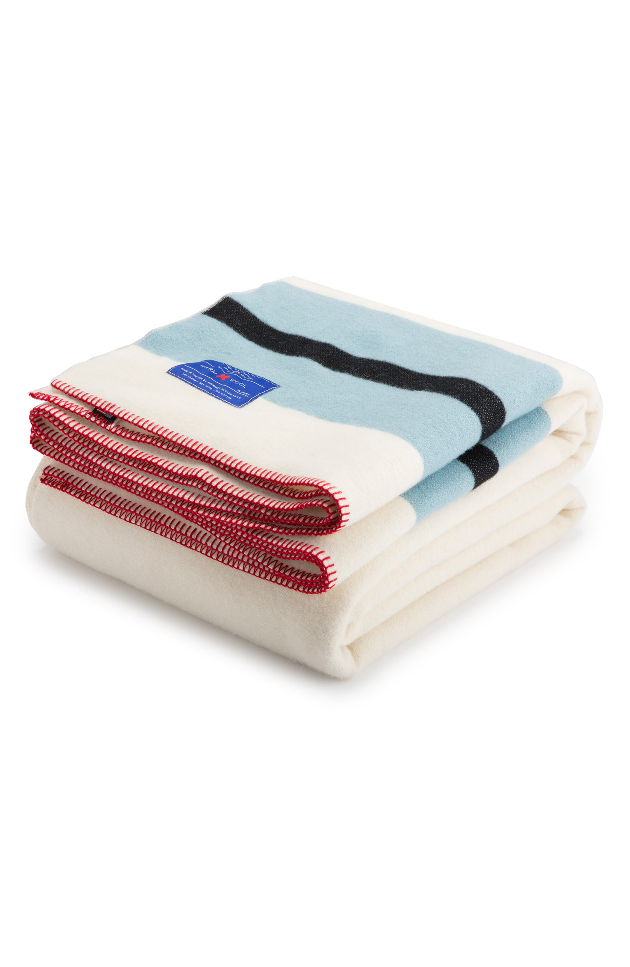 The Warm Wool Blend Blanket,                             Alternate thumbnail 6, color,                             WHITE/ BLUE/ RED
