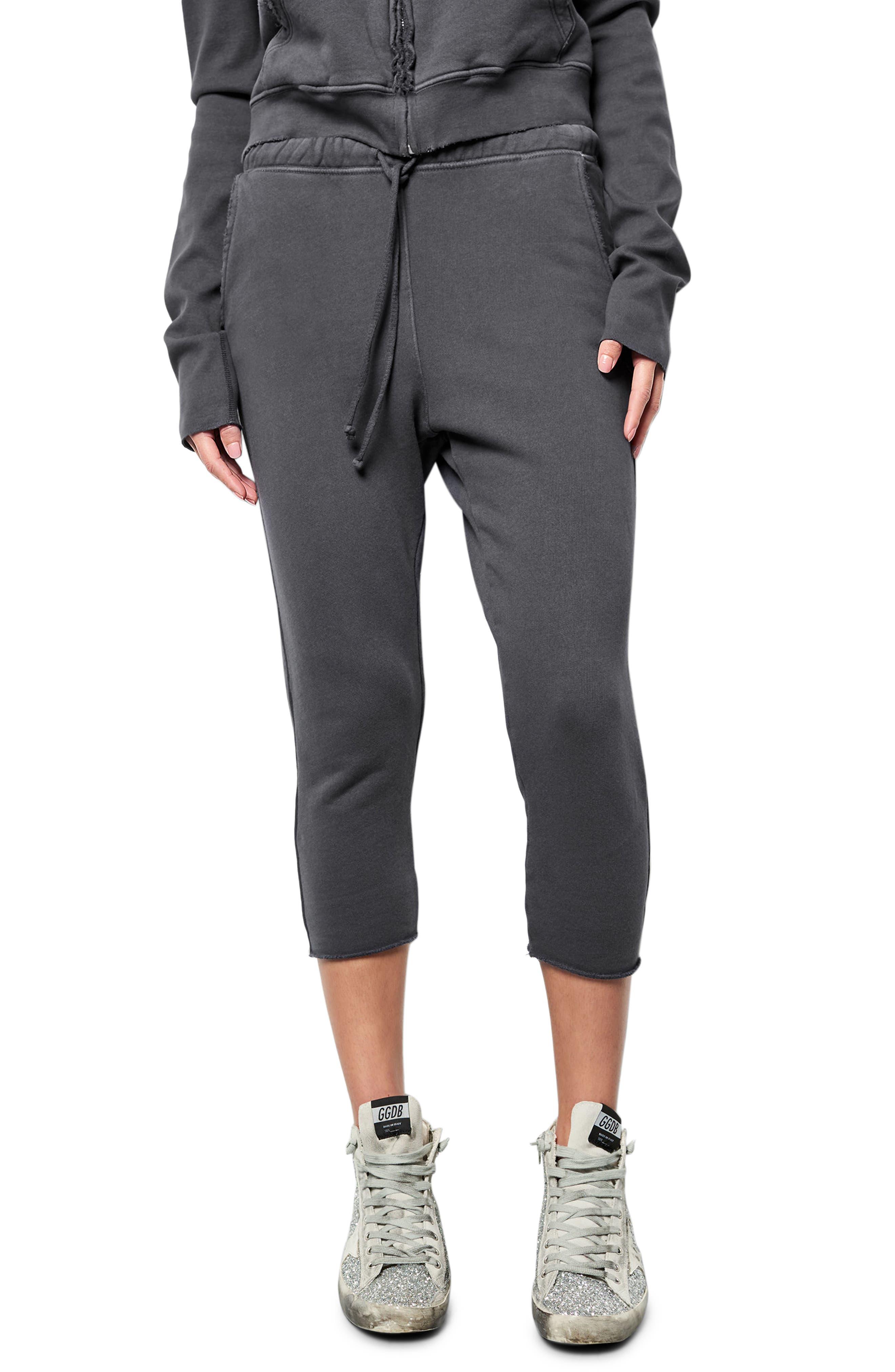 Raw Hem Crop Sweatpants,                             Main thumbnail 1, color,                             010