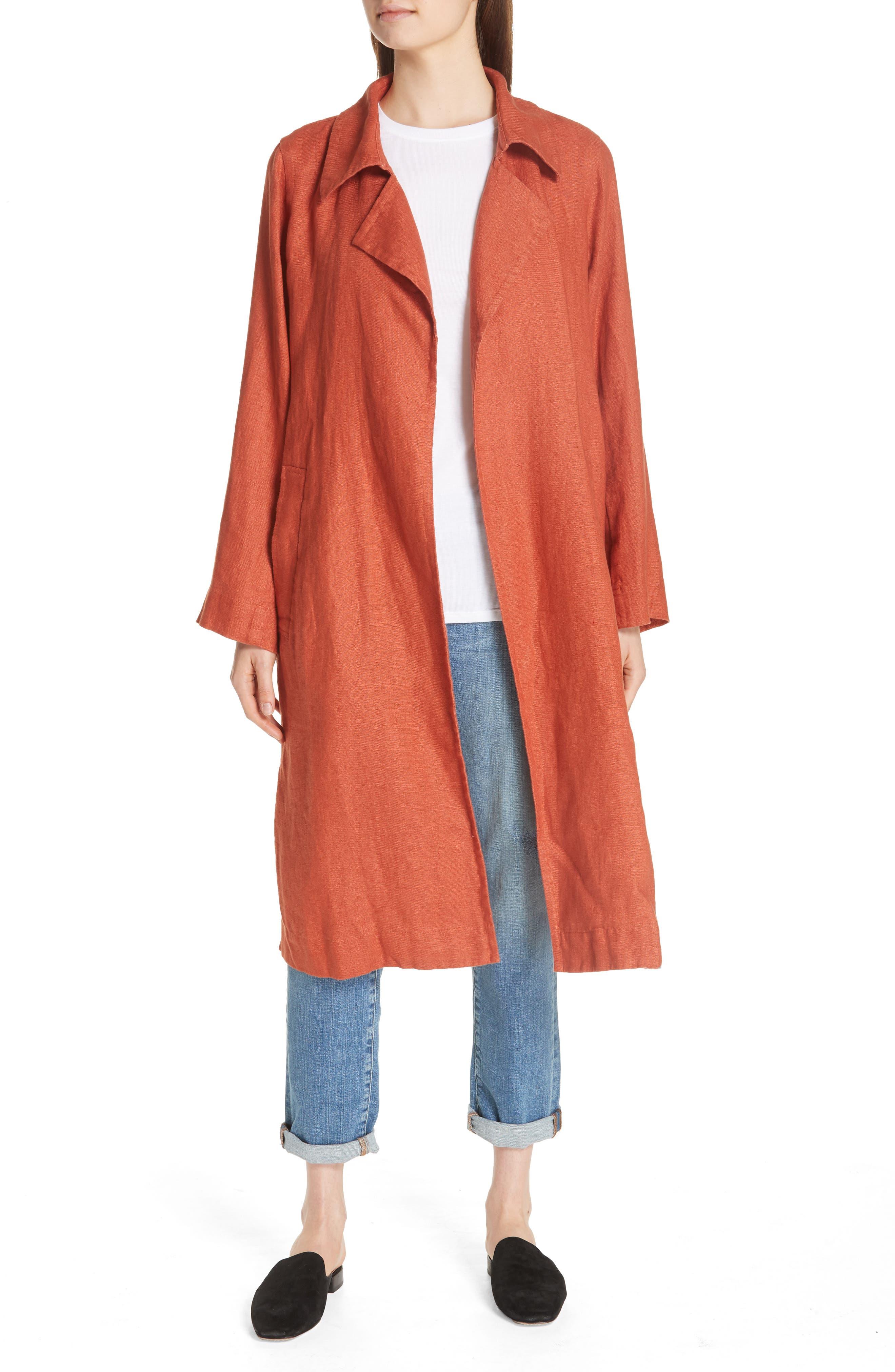 Organic Linen Trench Coat,                             Alternate thumbnail 7, color,                             822