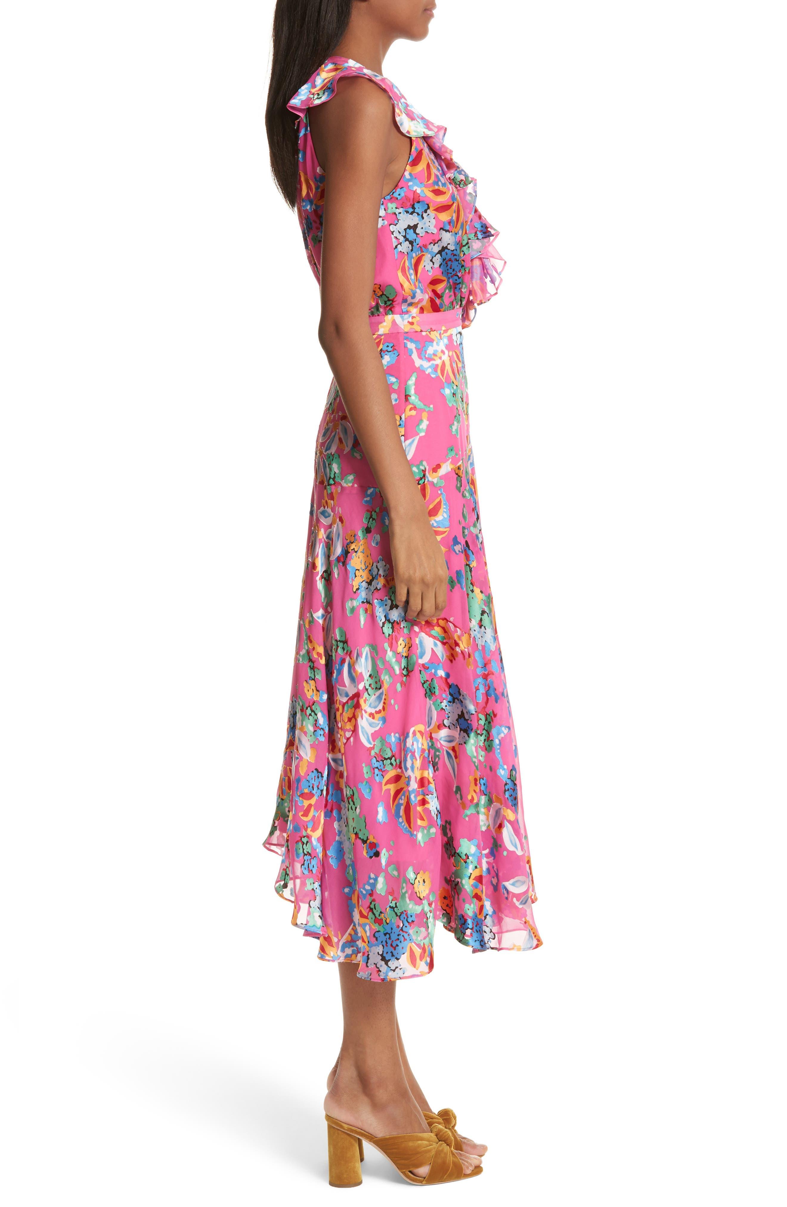 Rita Ruffle Dress,                             Alternate thumbnail 3, color,                             PINK BEGONIA