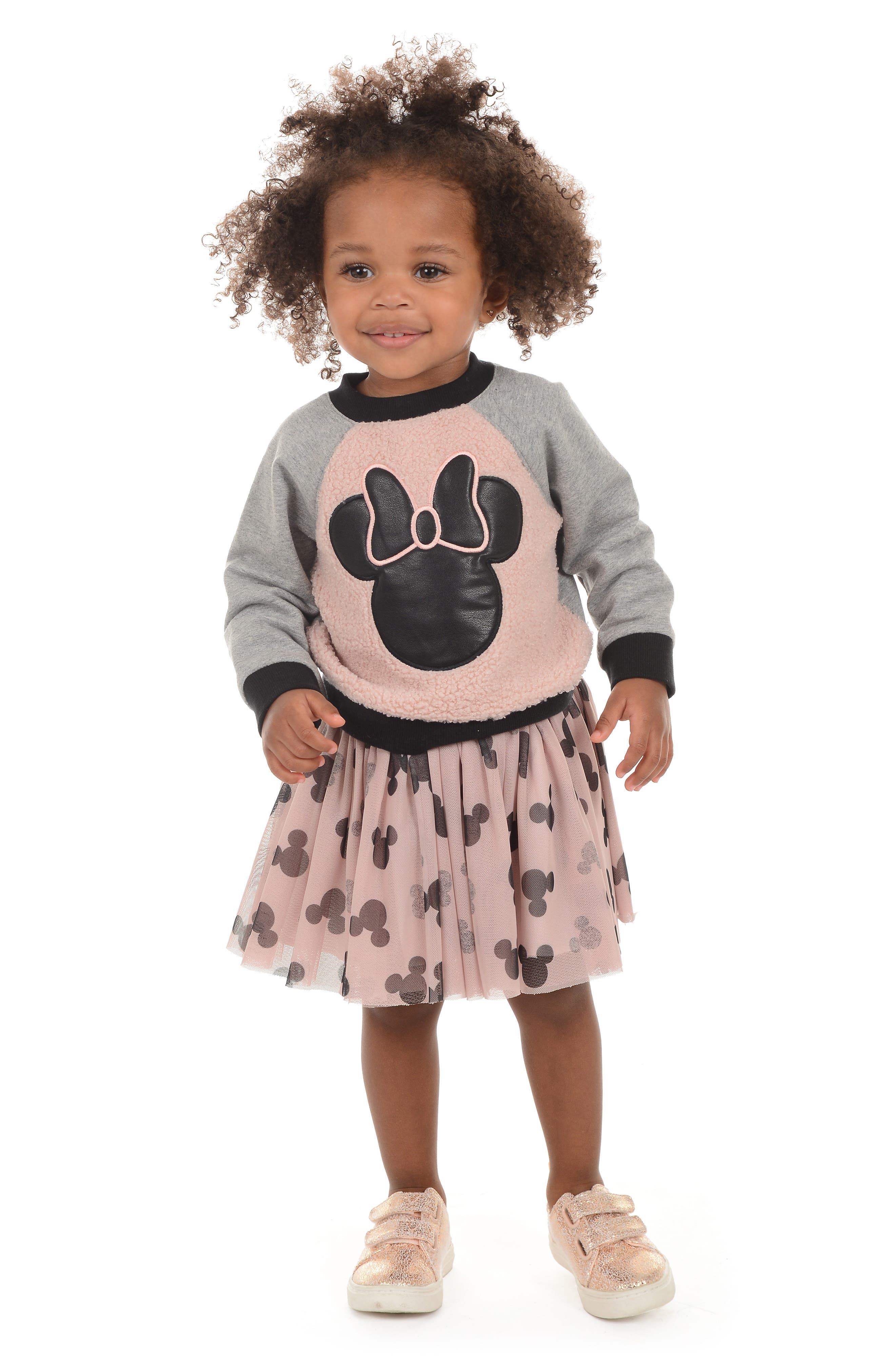 x Disney Minnie Mouse Pullover & Tutu Skirt Set,                             Alternate thumbnail 3, color,                             PINK/ GREY