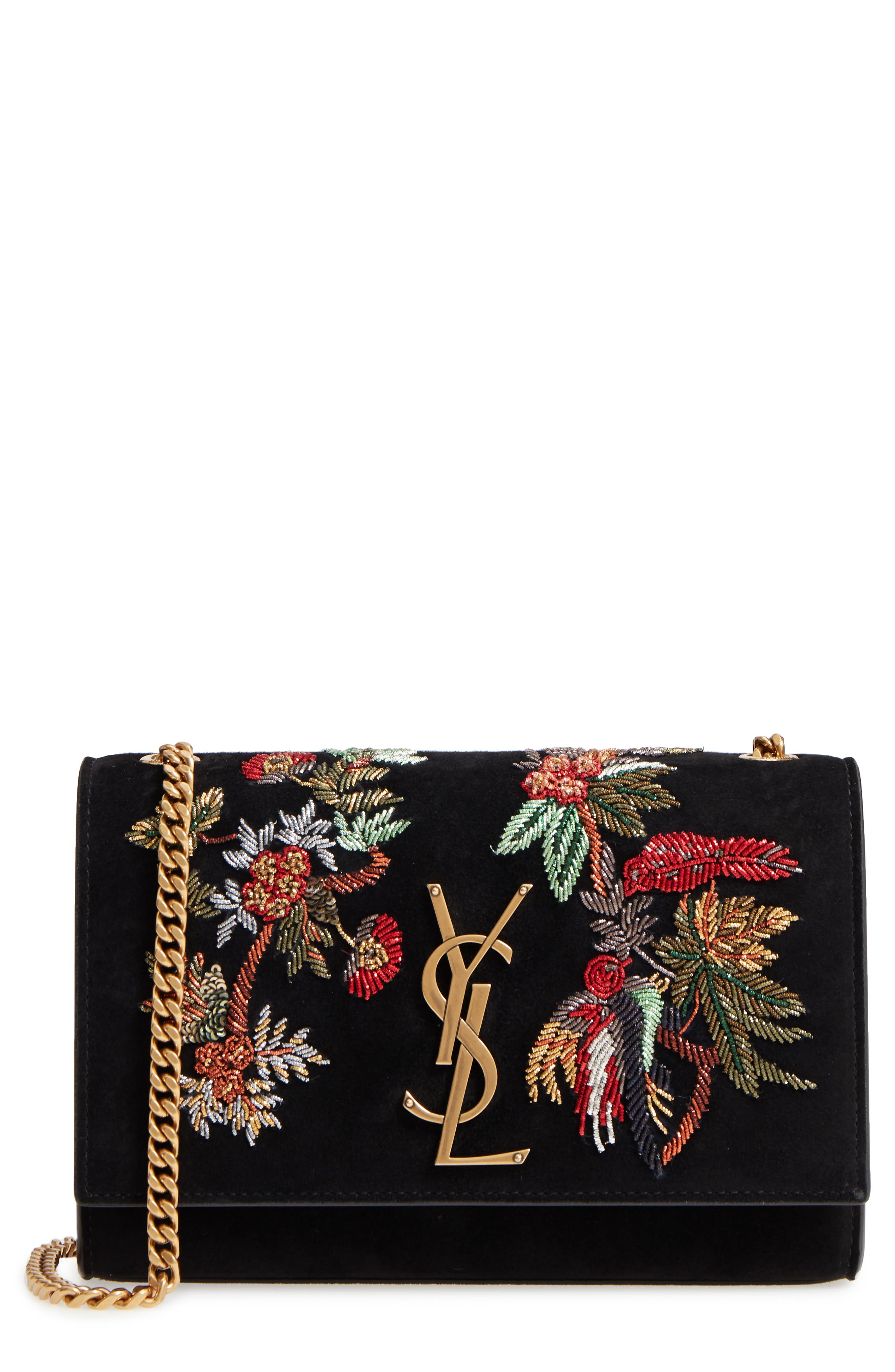 SAINT LAURENT,                             Small Kate Embroidered Suede Crossbody Bag,                             Main thumbnail 1, color,                             001