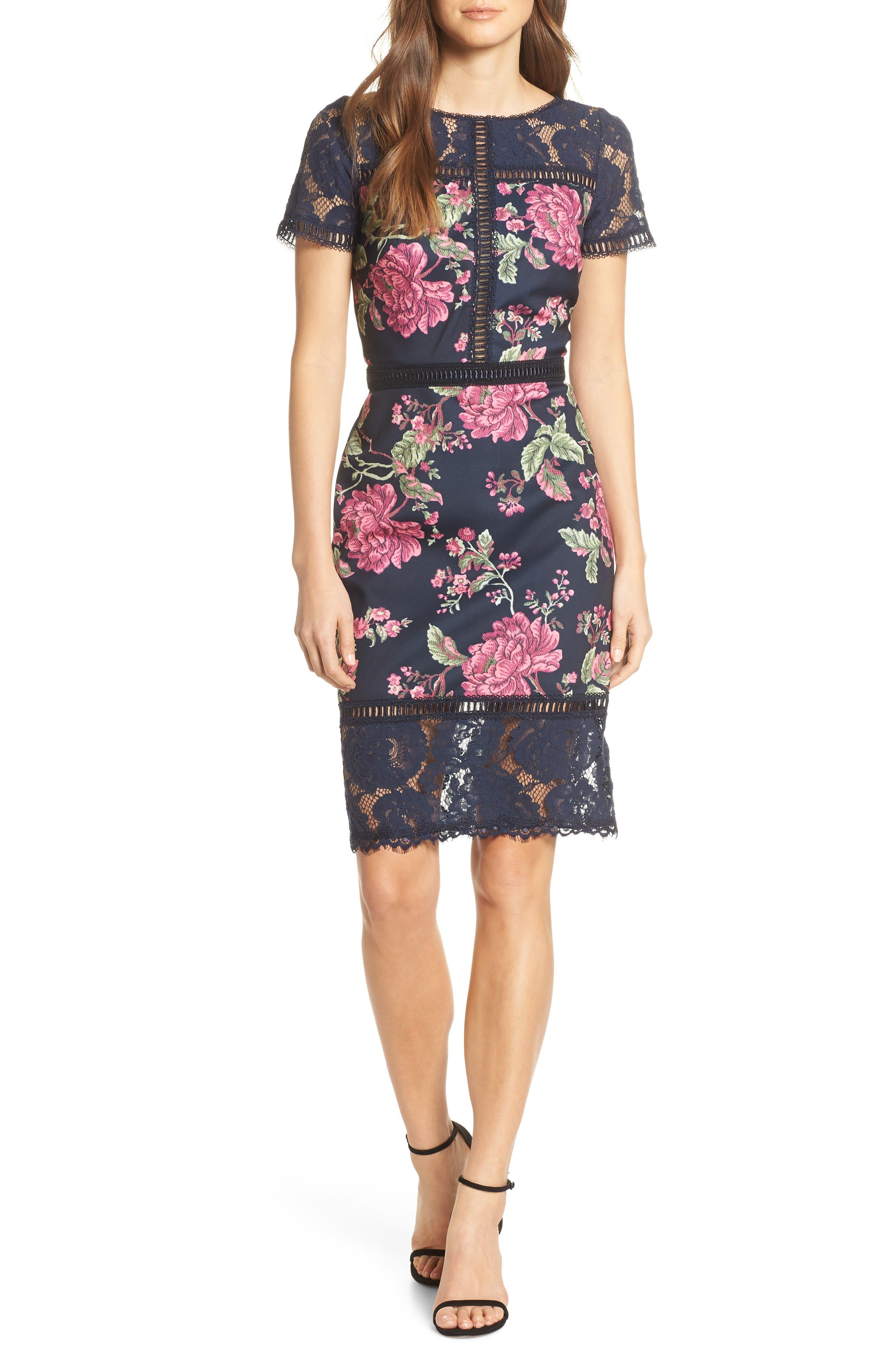 Tadashi Shoji Floral & Lace Sheath Dress, Blue