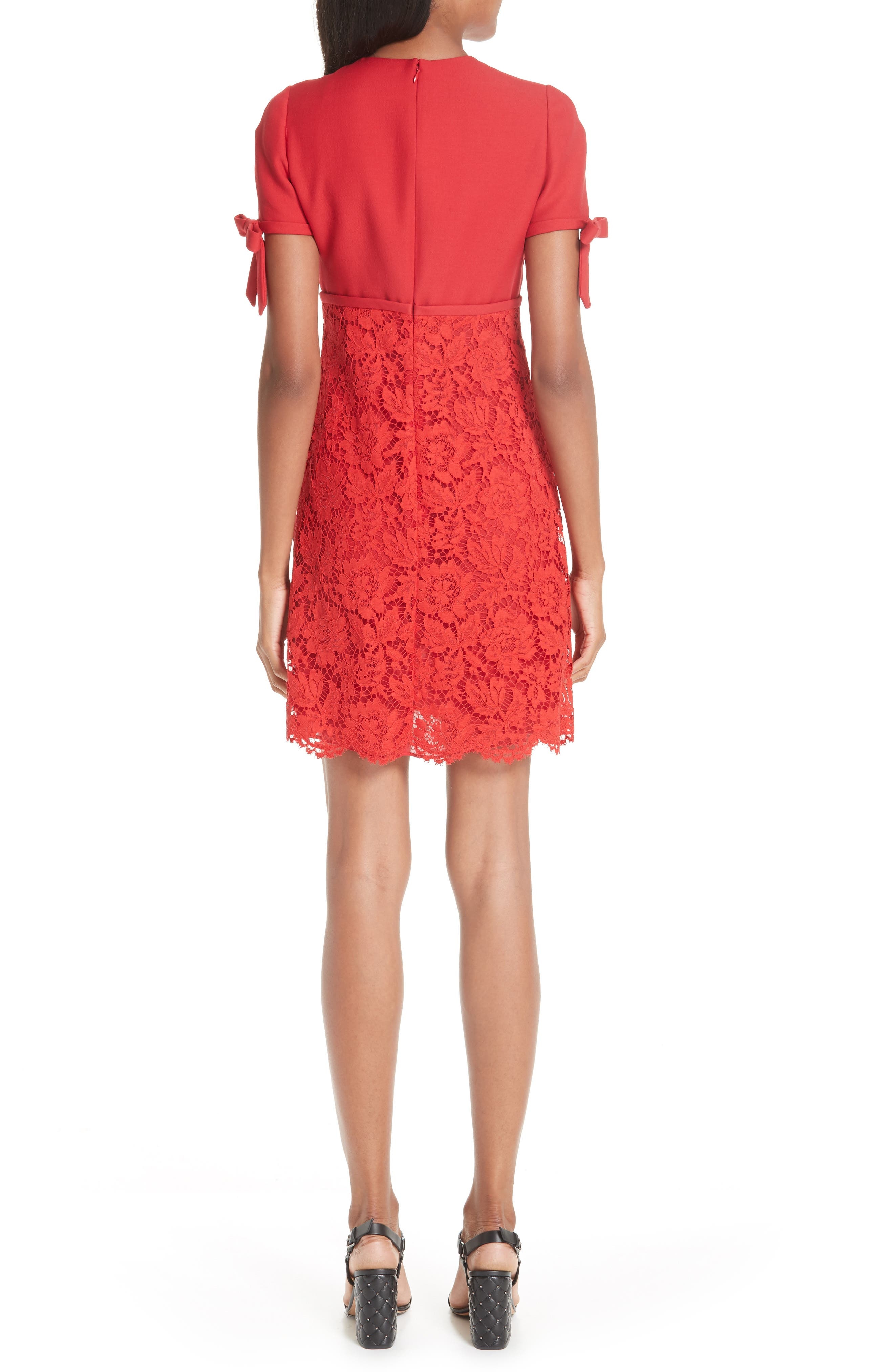 Bow Detail Lace Dress,                             Alternate thumbnail 2, color,                             RED