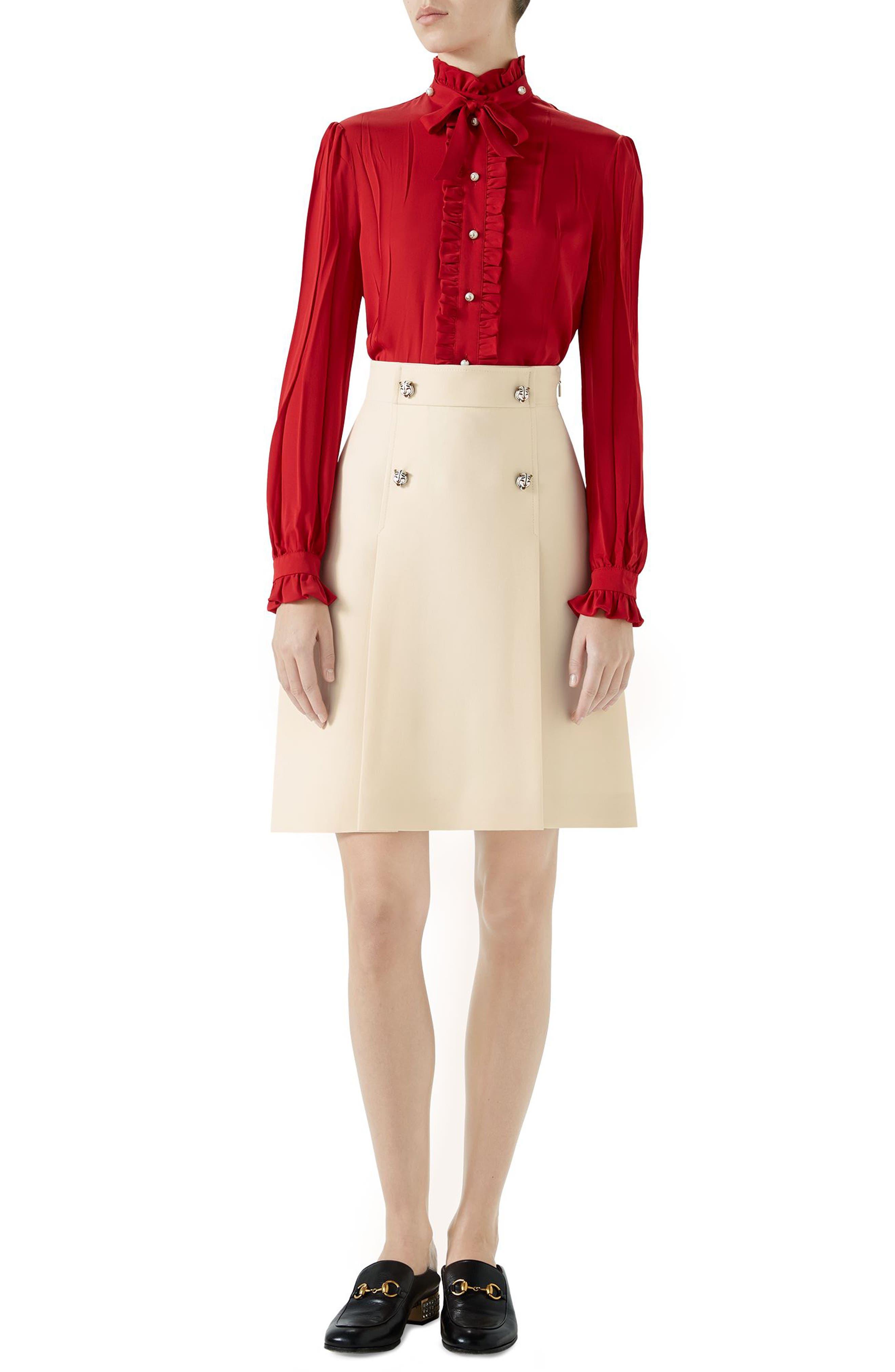 Tiger Button Wool & Silk Crepe A-Line Skirt,                             Alternate thumbnail 5, color,                             GARDENIA