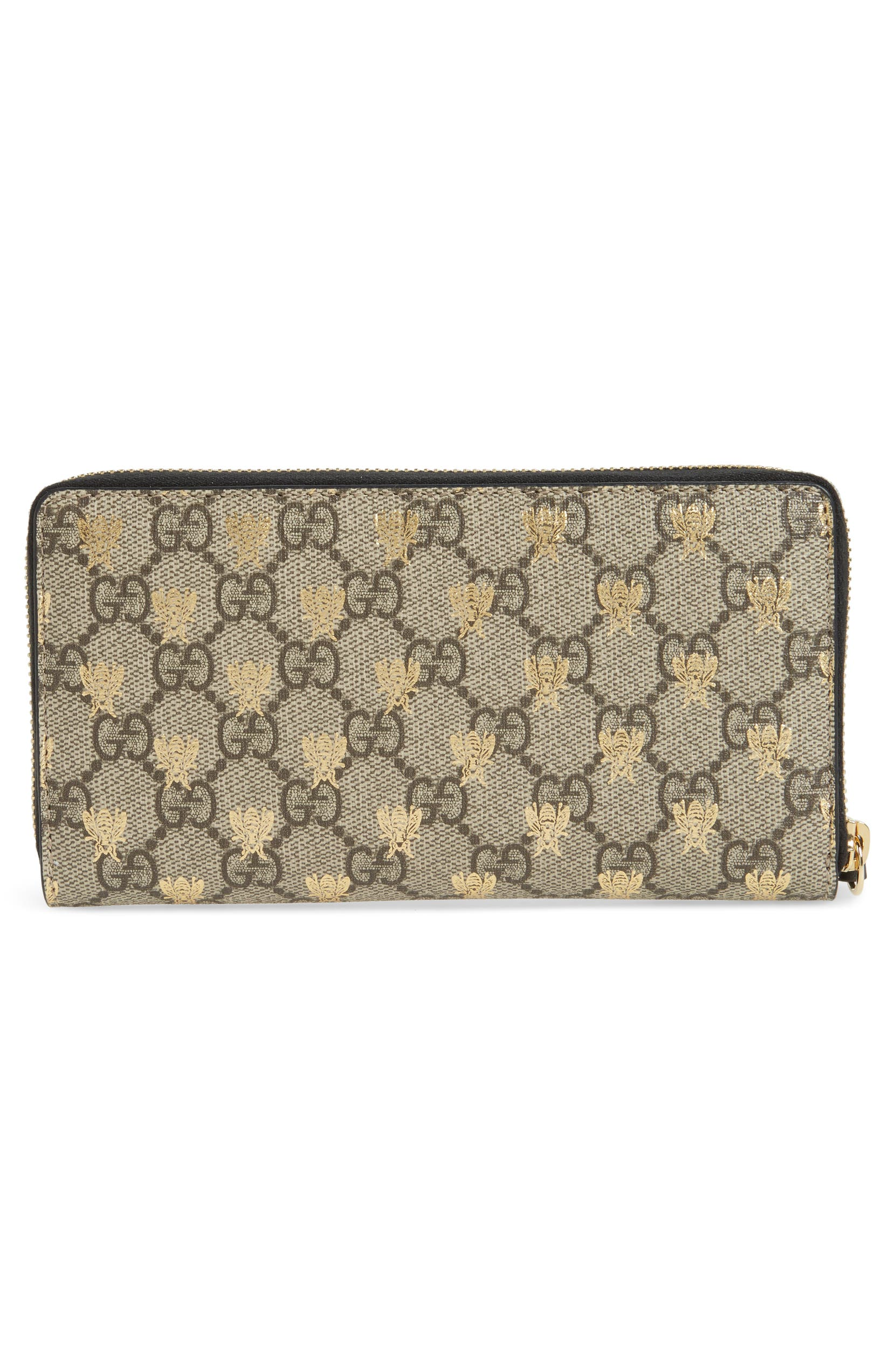 a17d514d069 Gucci Linea A Bee GG Zip-Around Wallet