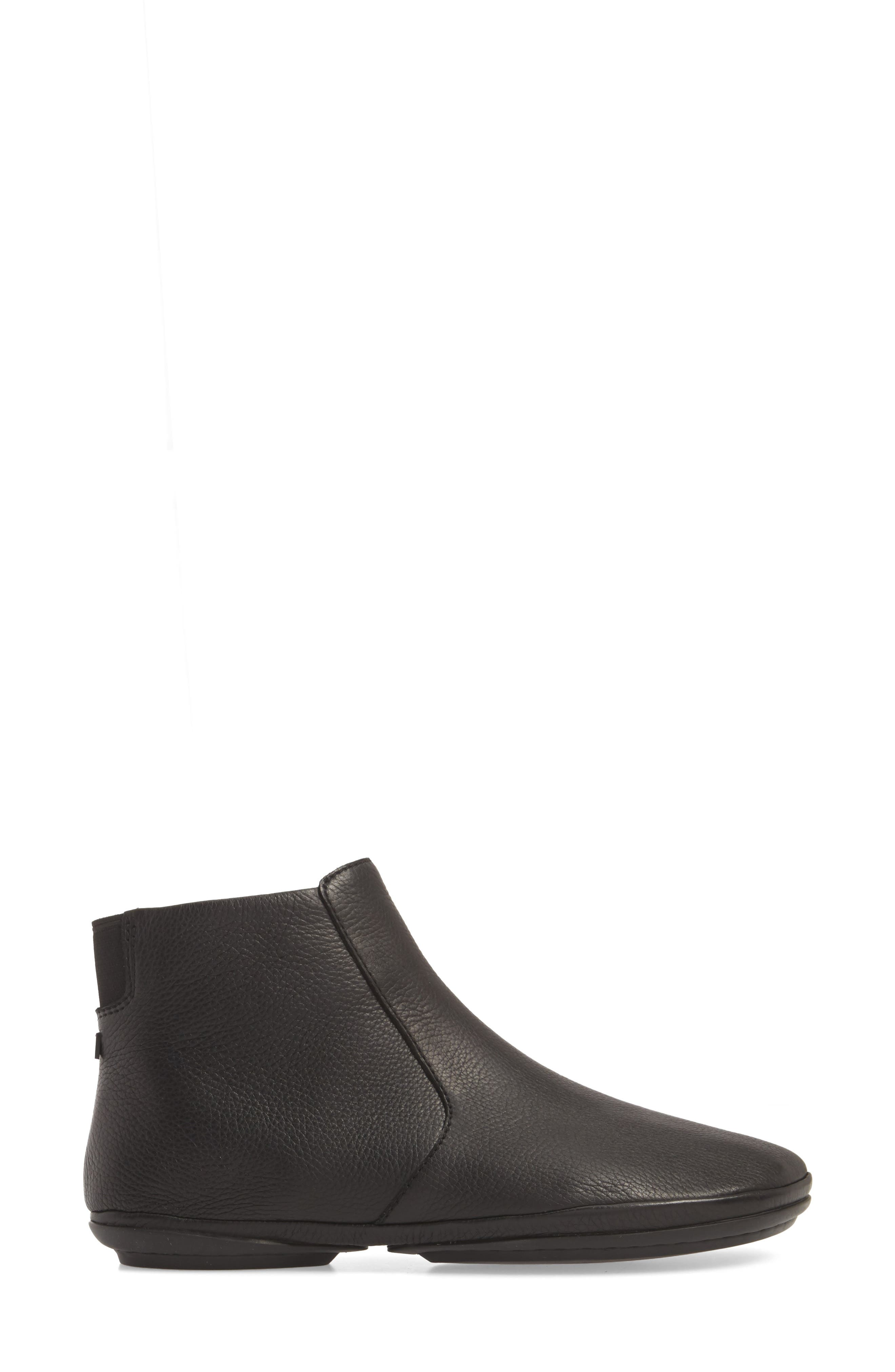 Right Nina Bootie,                             Alternate thumbnail 3, color,                             BLACK LEATHER