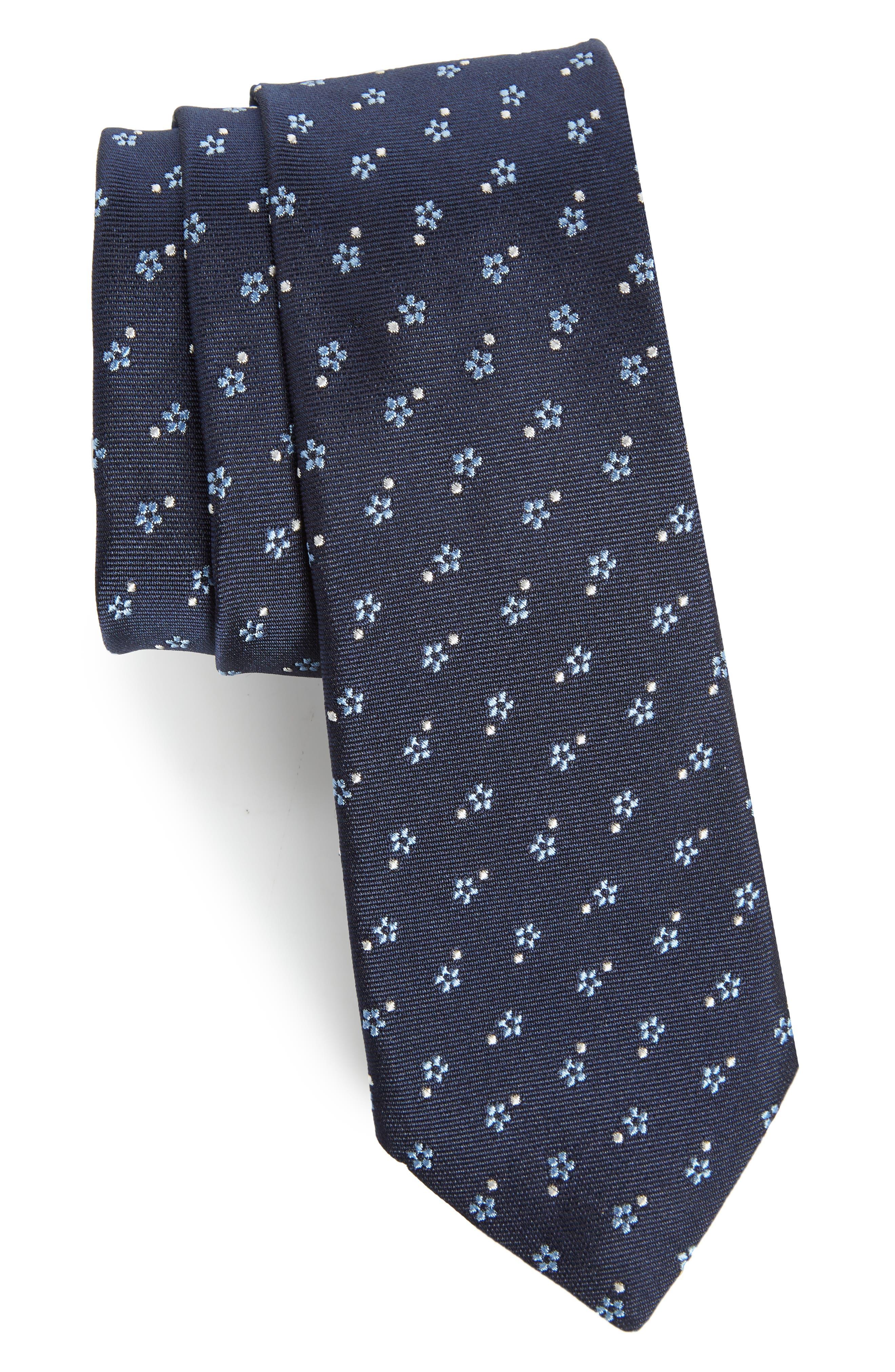 Floral Print Skinny Tie,                         Main,                         color, 415