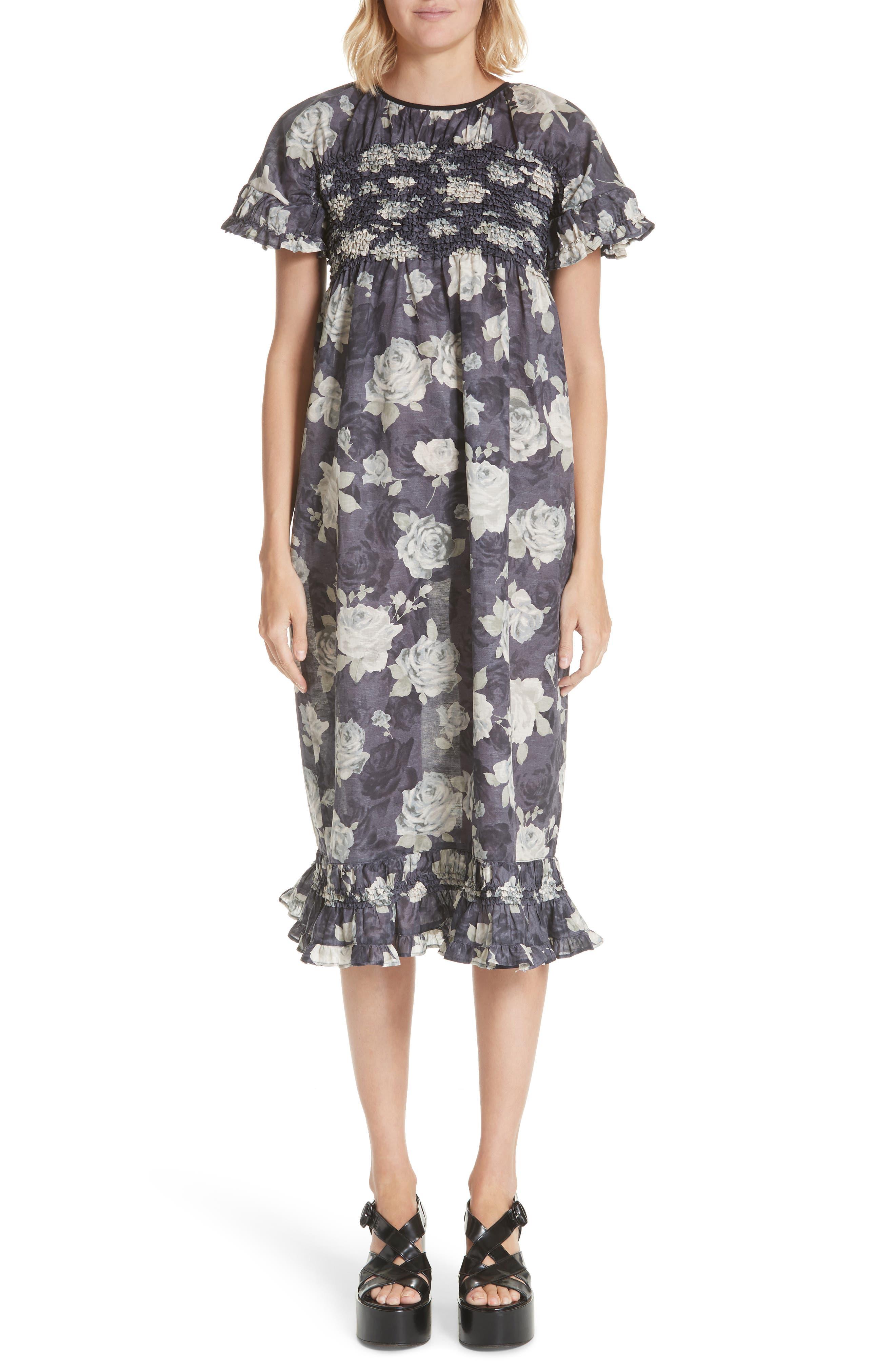 Rose Print Dress,                             Main thumbnail 1, color,                             020