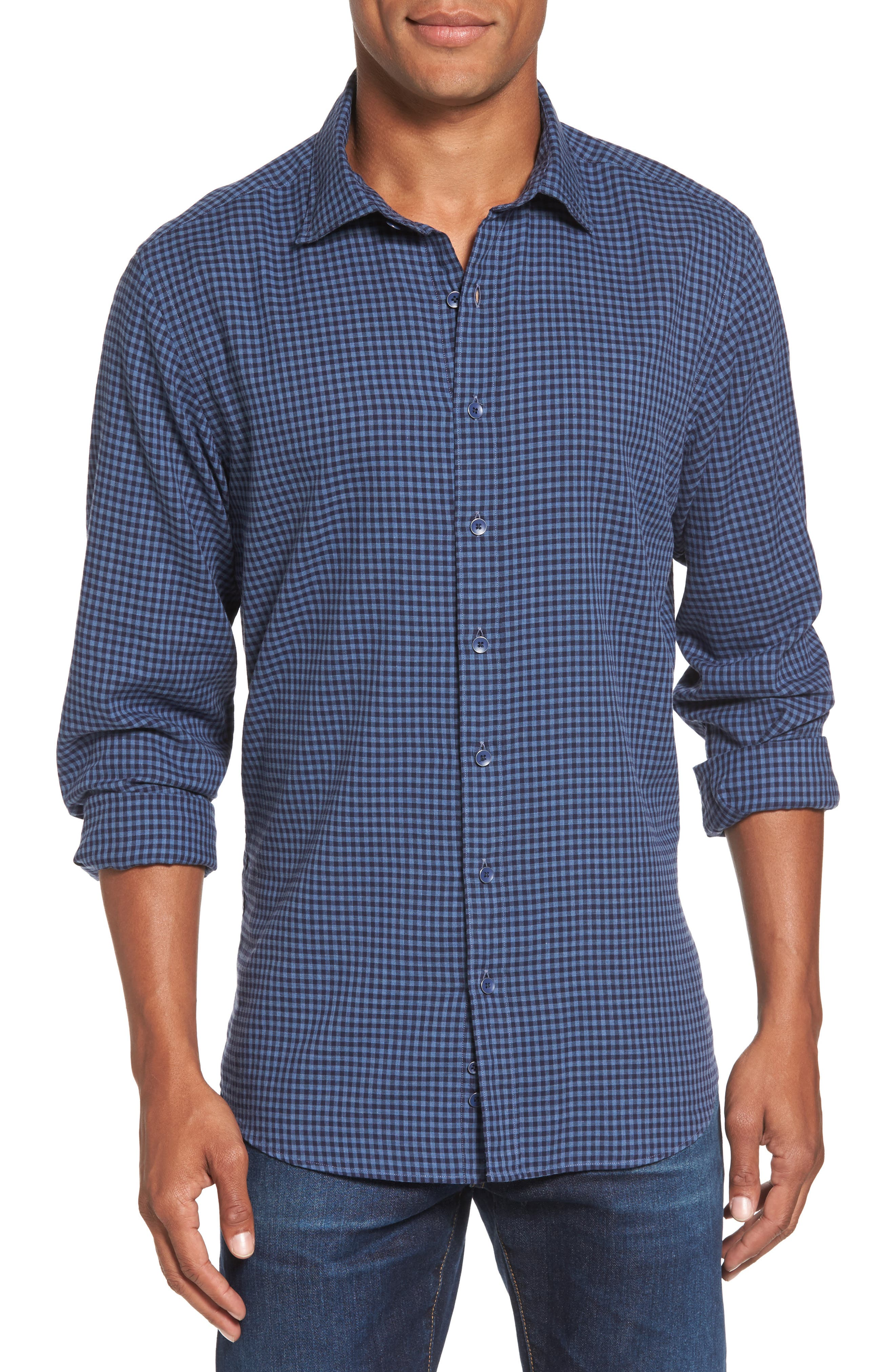Kennington Regular Fit Gingham Sport Shirt,                         Main,                         color, 401
