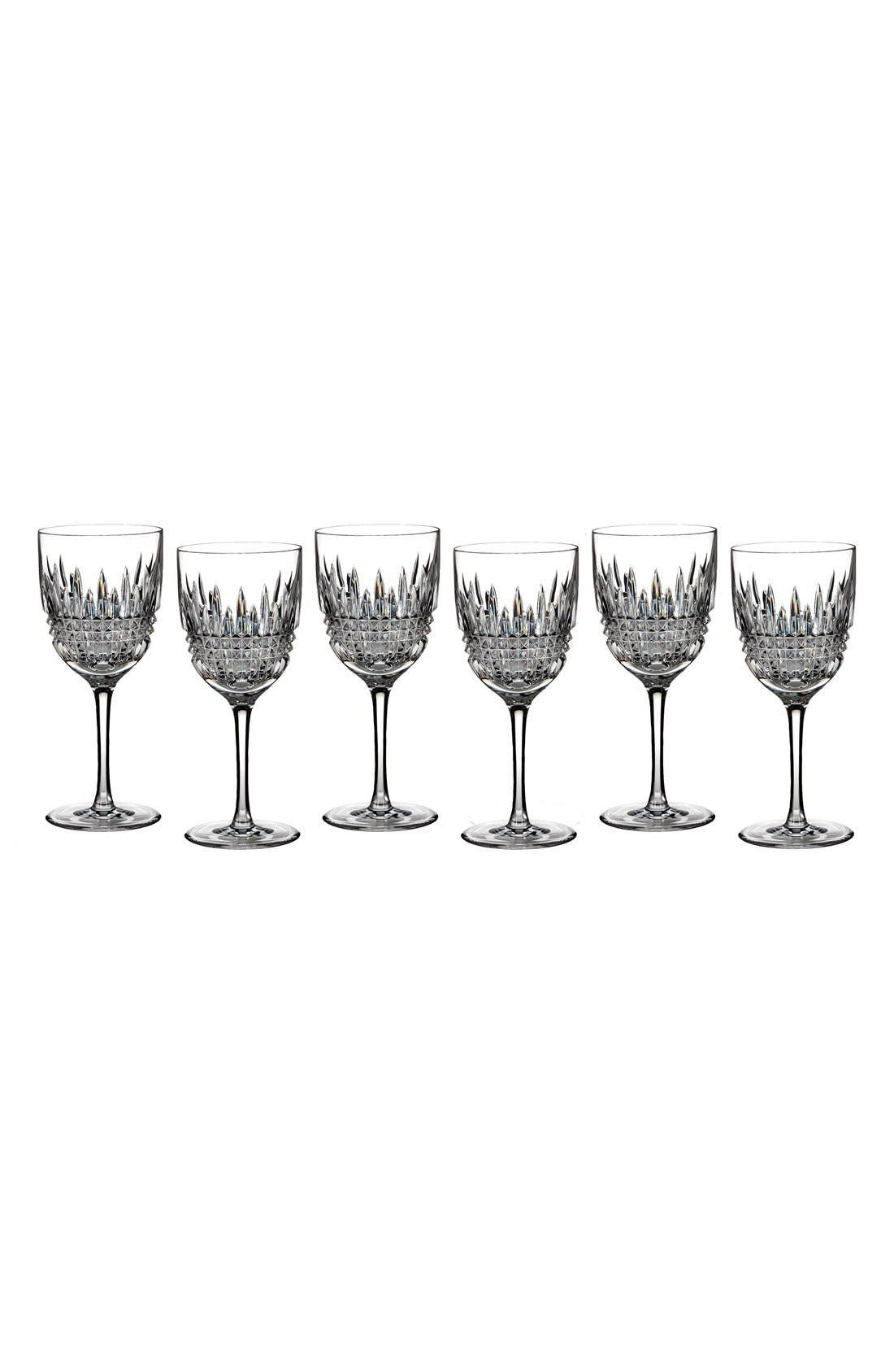 Lismore Diamond Set of 6 Lead Crystal White Wine Glasses,                         Main,                         color,