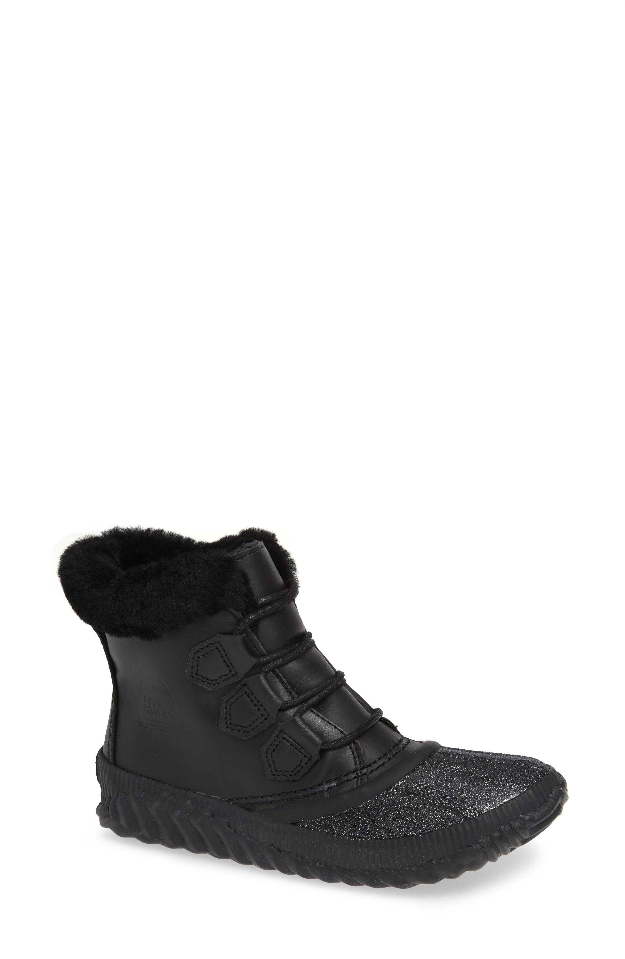 Sorel Out N About Plus Lux Waterproof Boot With Genuine Shearling Trim, Black