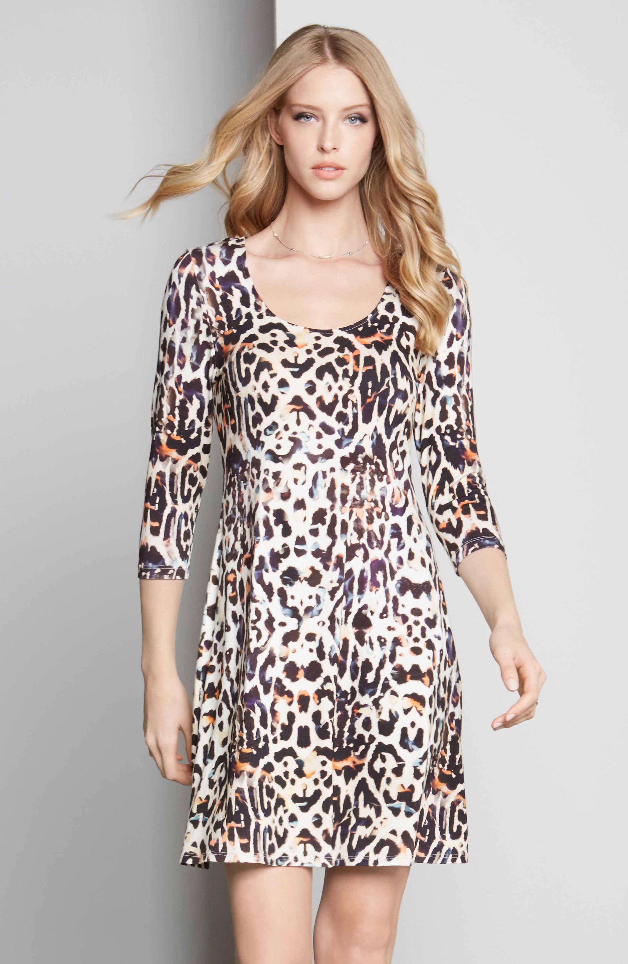 Leopard Print A-Line Dress,                             Alternate thumbnail 3, color,                             280