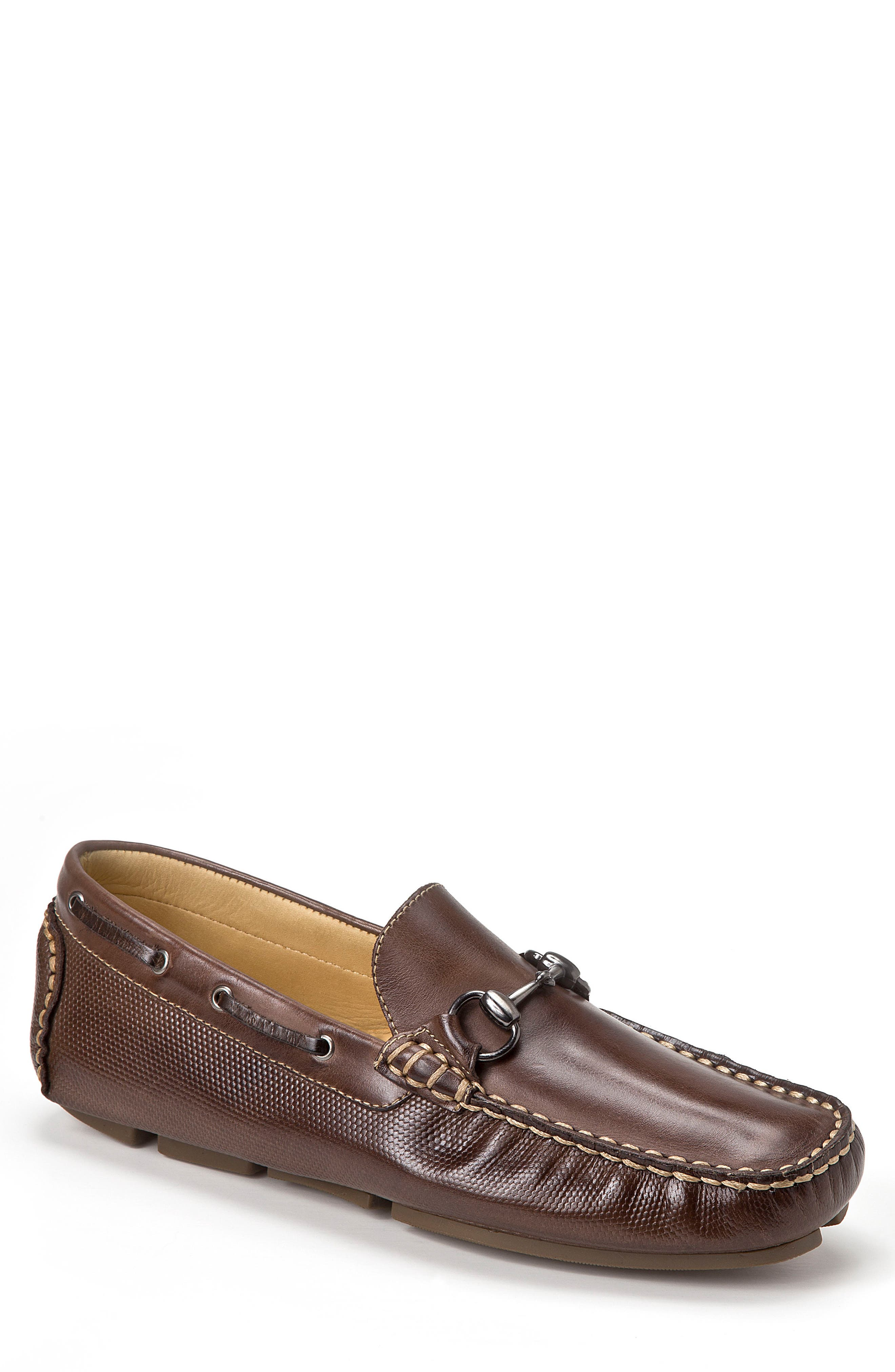 Neil Embossed Loafer,                             Main thumbnail 1, color,                             BROWN LEATHER