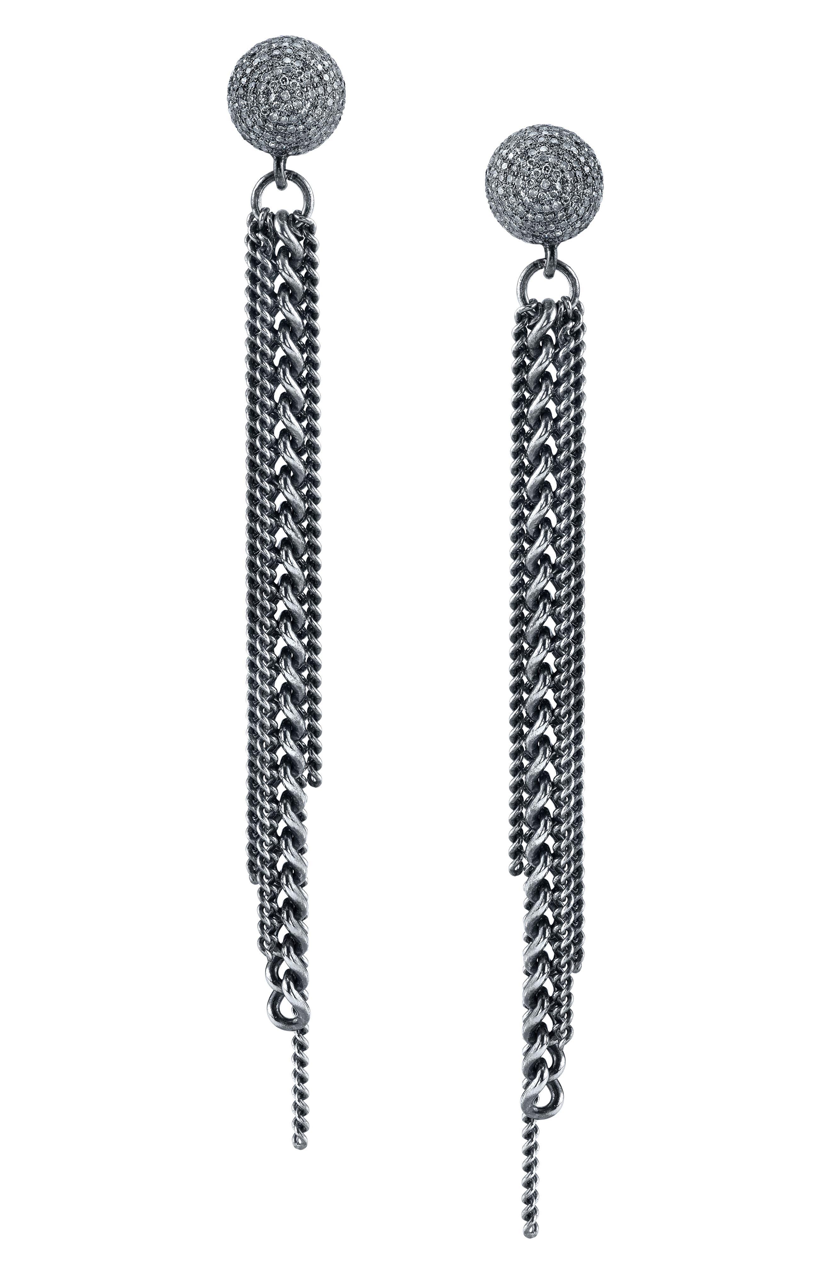 Fringe Earrings With Diamonds in Sterling Silver