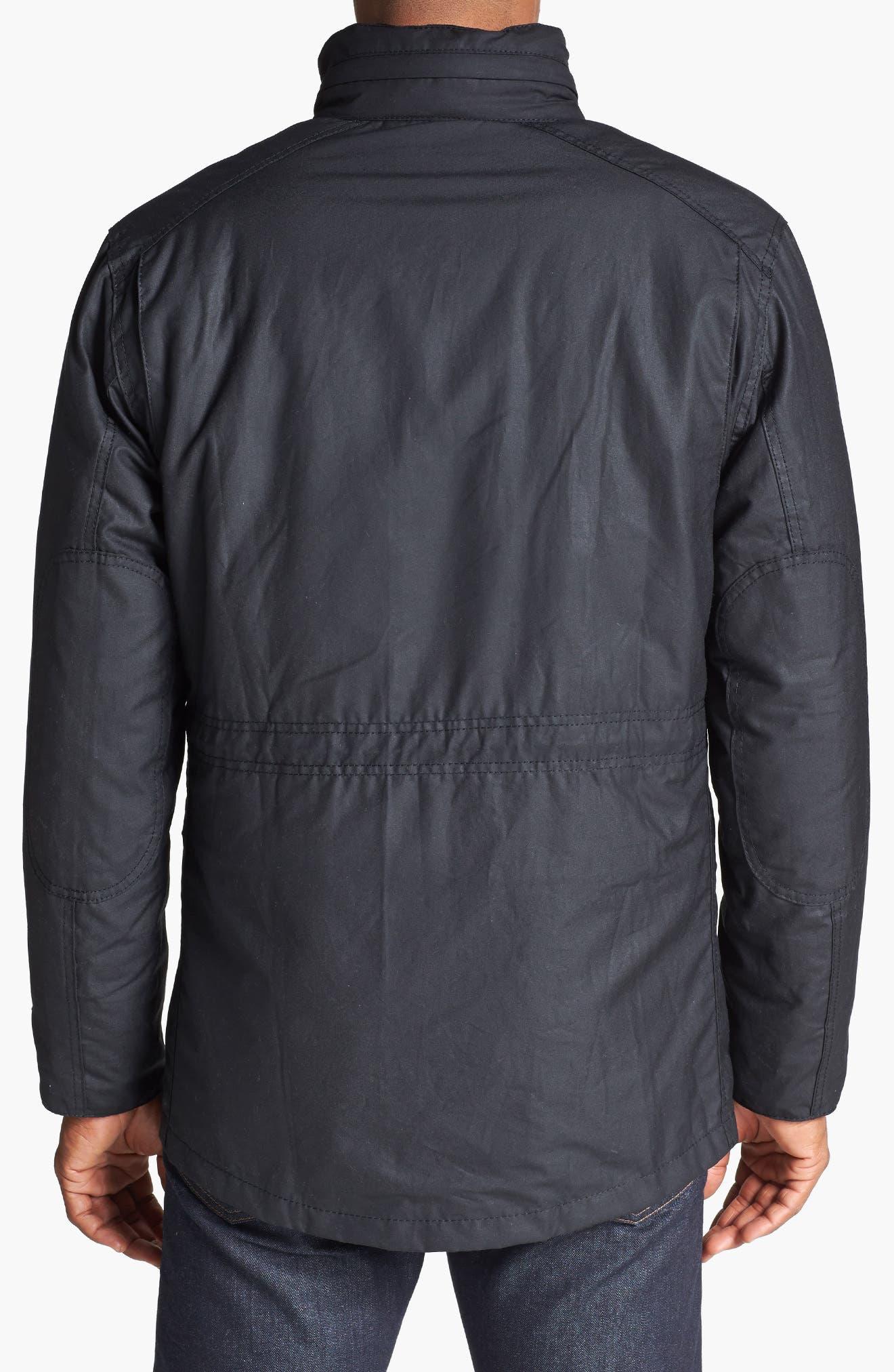 'Sapper' Regular Fit Waterproof Waxed Cotton Jacket,                             Alternate thumbnail 2, color,                             BLACK