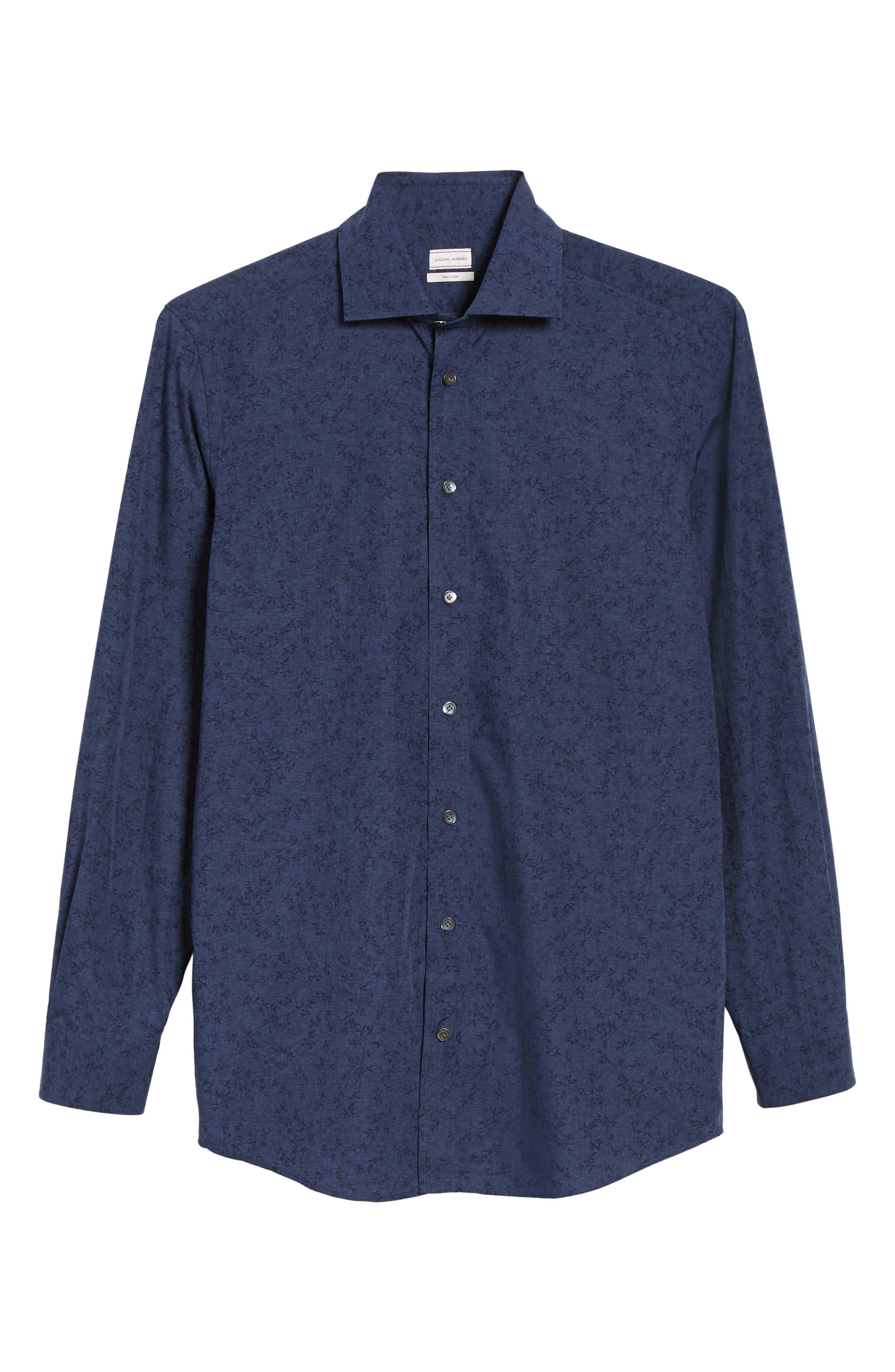 Slim Fit Print Dress Shirt,                             Alternate thumbnail 5, color,                             NAVY