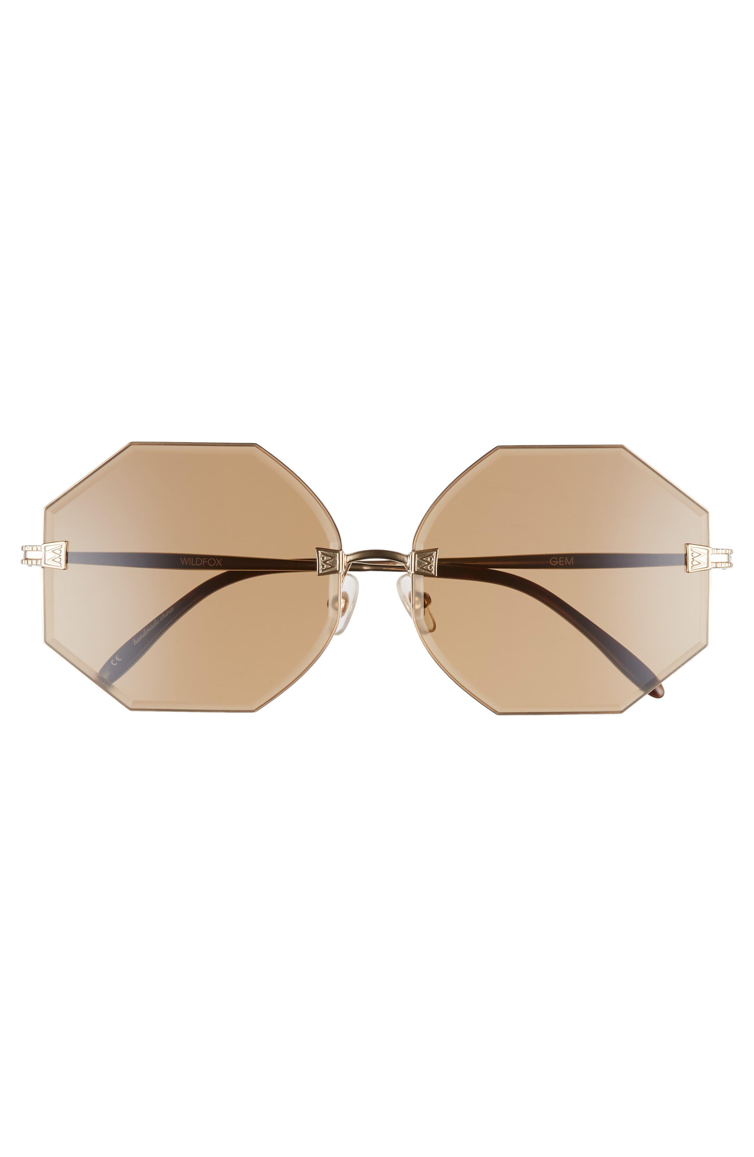 Gem 64mm Oversize Geometric Sunglasses,                             Alternate thumbnail 3, color,                             ANTIQUE GOLD/ BROWN SOLID