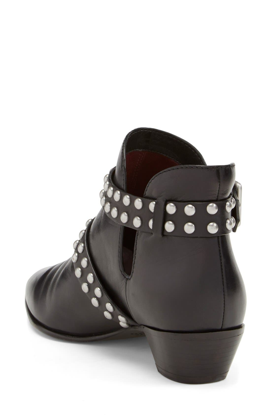 MARC BY MARC JACOBS 'Carroll' Studded Leather Pointy Toe Ankle Boot,                             Alternate thumbnail 5, color,                             001