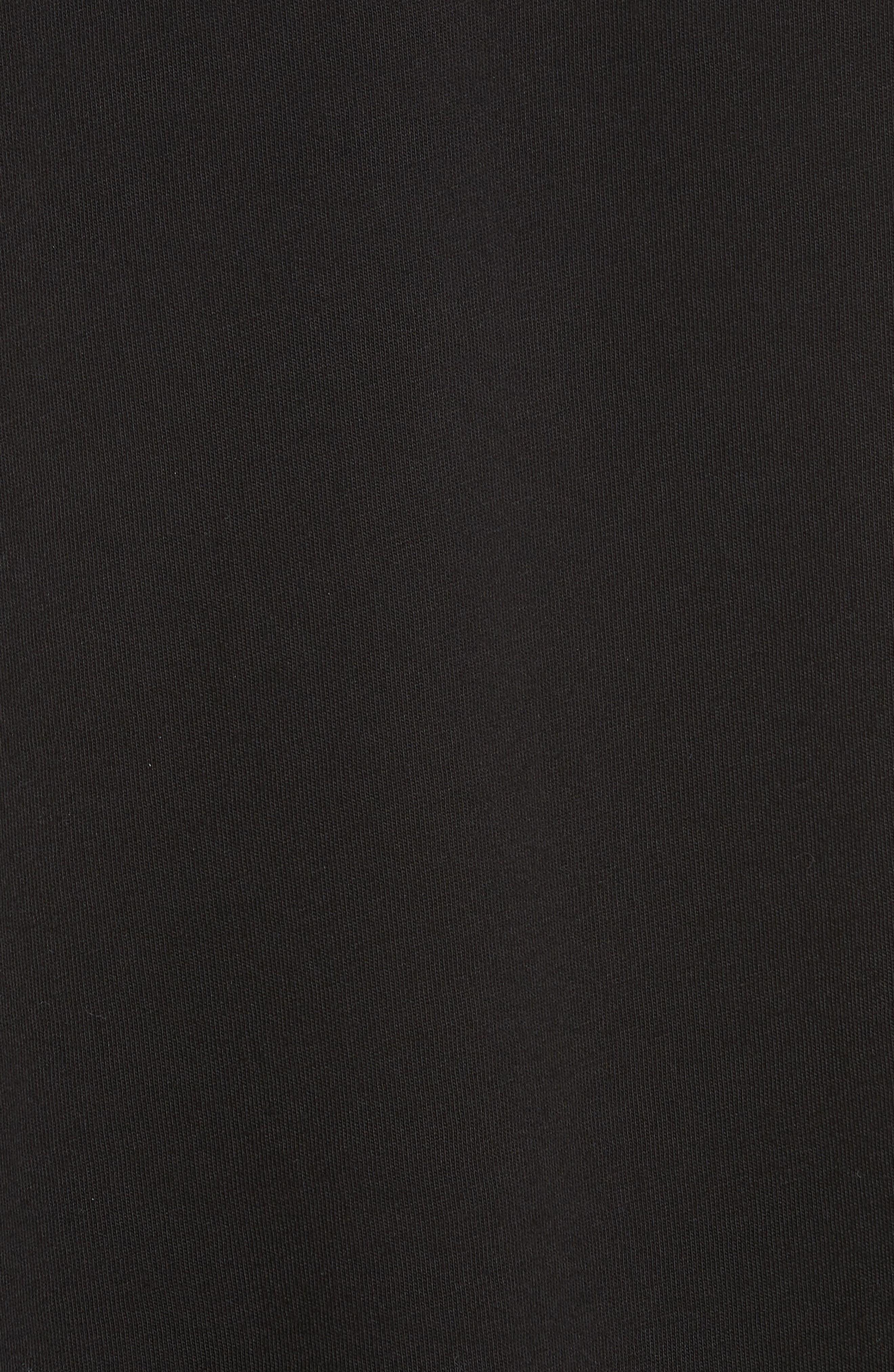 Pleat Accent Crewneck Long Sleeve Top,                             Alternate thumbnail 5, color,                             BLACK/ BLACK/ WHITE