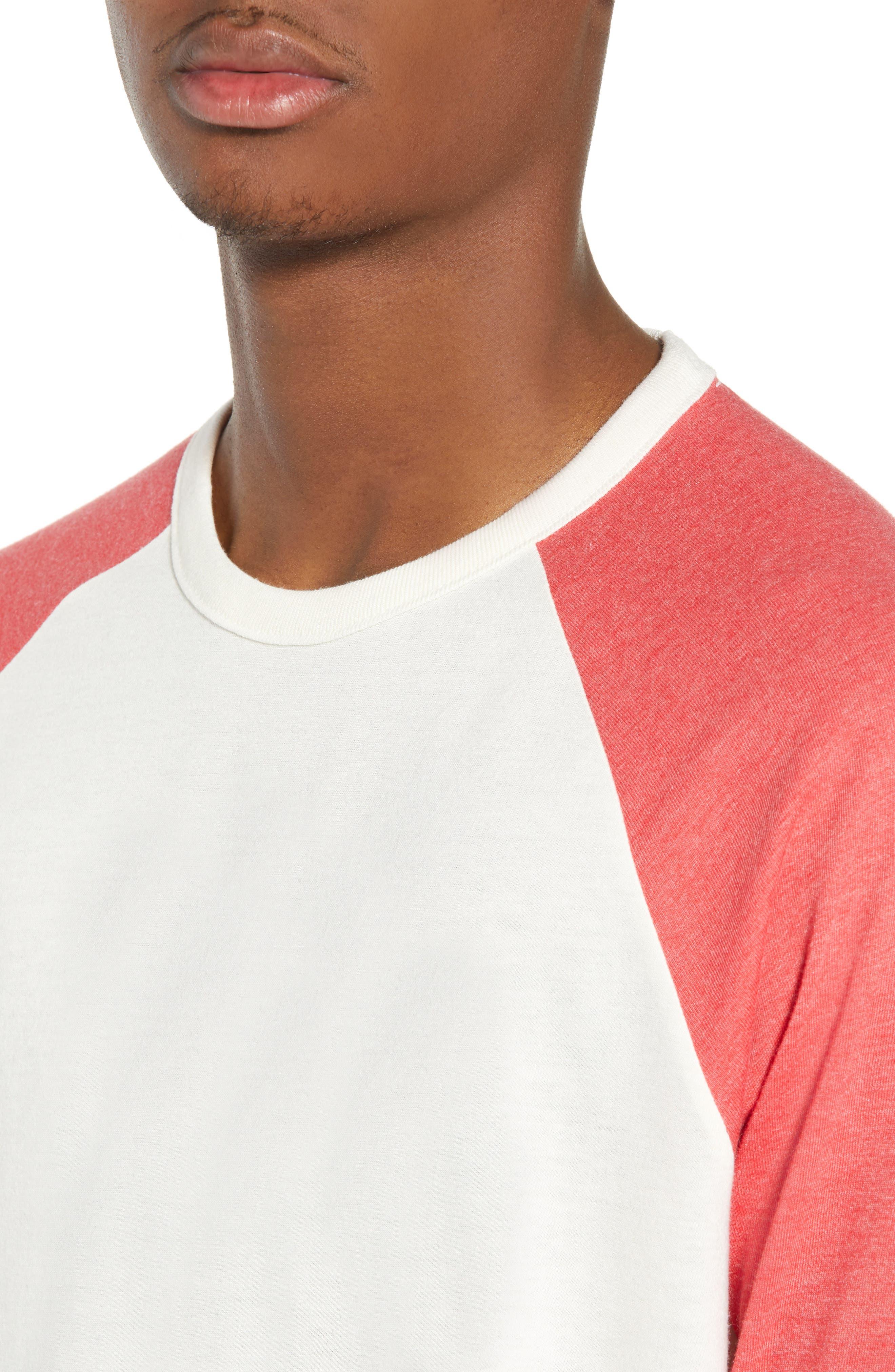 Baseball T-Shirt,                             Alternate thumbnail 4, color,                             IVORY EGRET-RED SAUCY