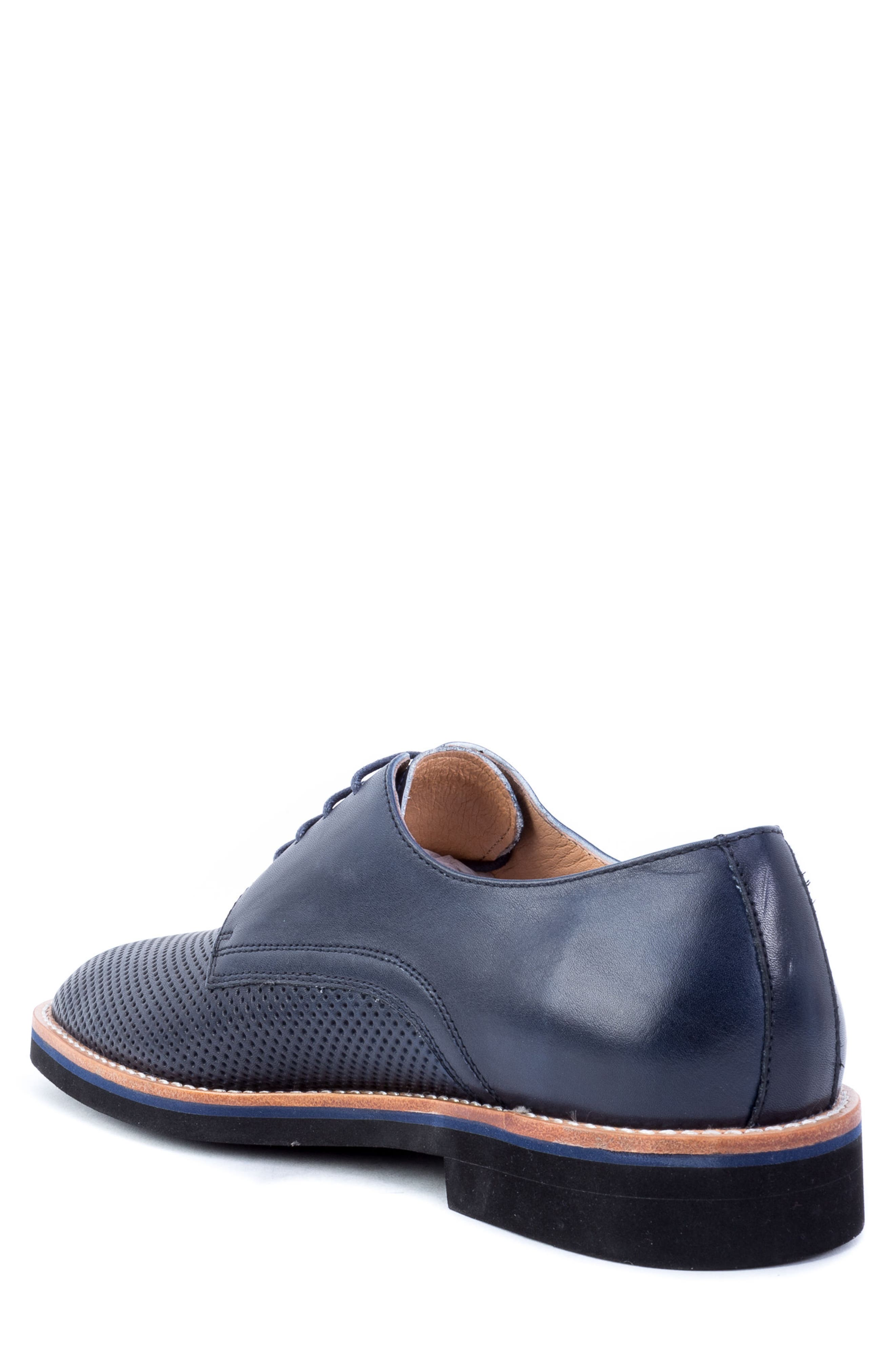 Hartung Perforated Plain Toe Derby,                             Alternate thumbnail 2, color,                             NAVY LEATHER