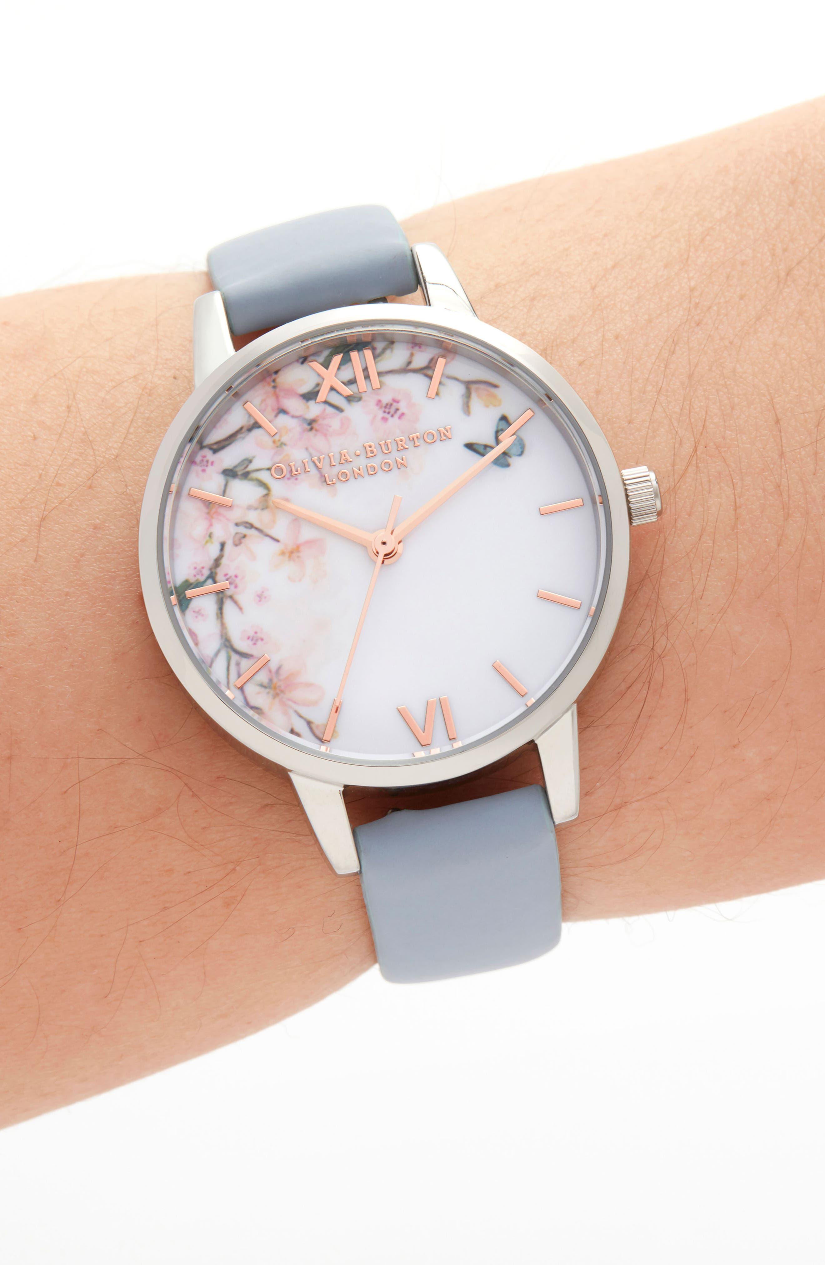 Pretty Blossom Leather Strap Watch, 30mm,                             Alternate thumbnail 2, color,                             CHALK/ WHITE/ BLOSSOM/ SILVER