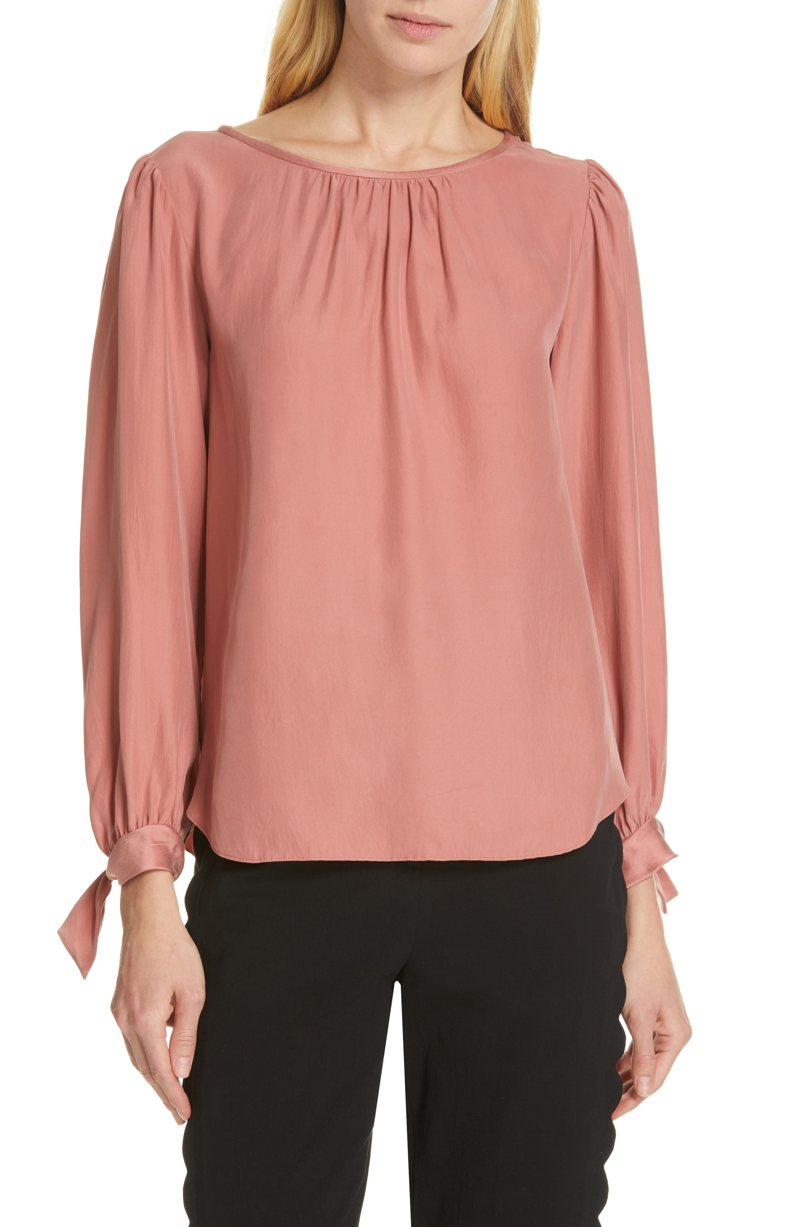 TAILORED BY REBECCA TAYLOR Sleeve Tie Silk Charmeuse Top, Main, color, LIPGLOSS