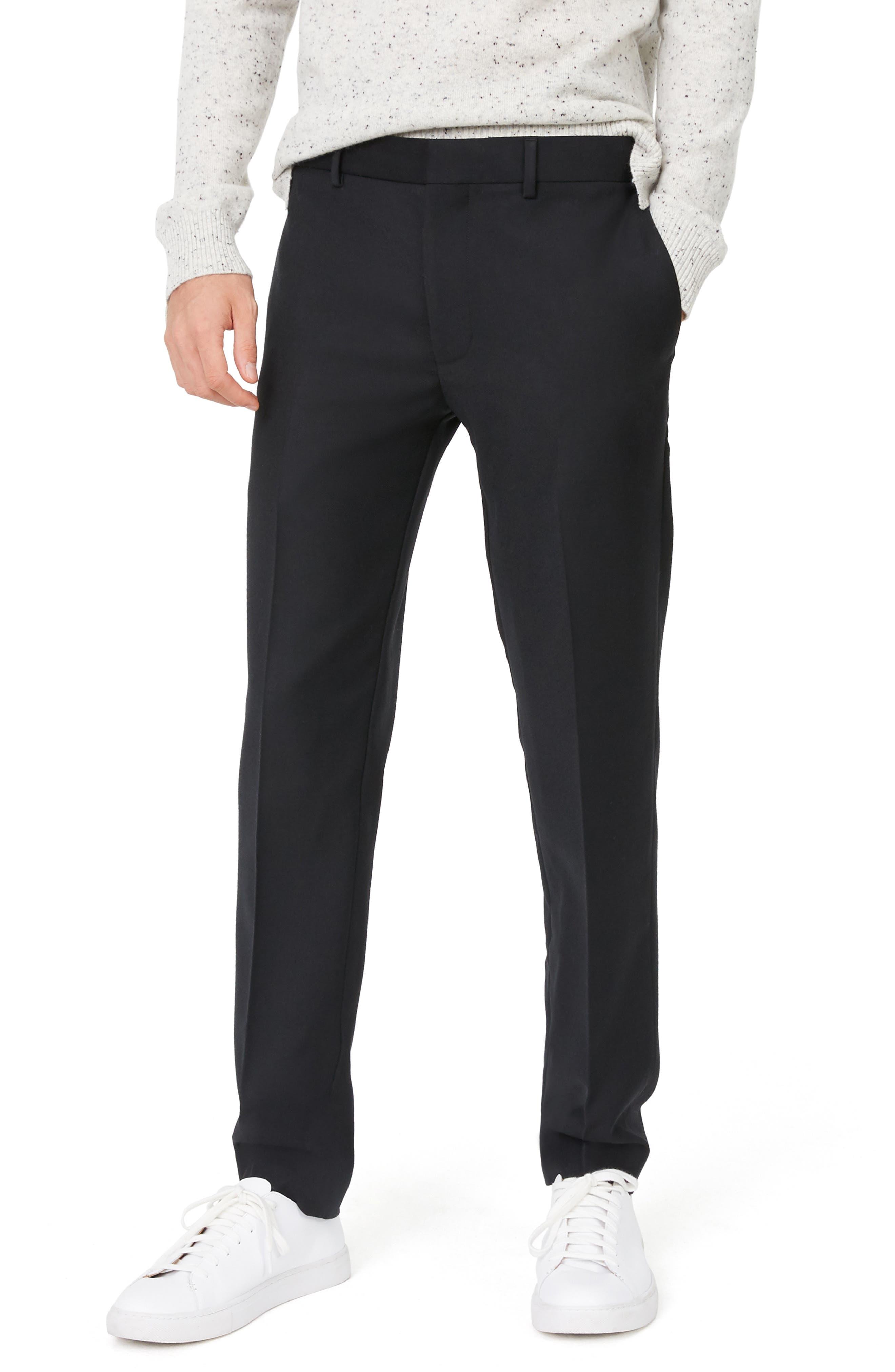 Sutton Trim Fit Stretch Wool Blend Pants,                             Main thumbnail 1, color,                             BLACK