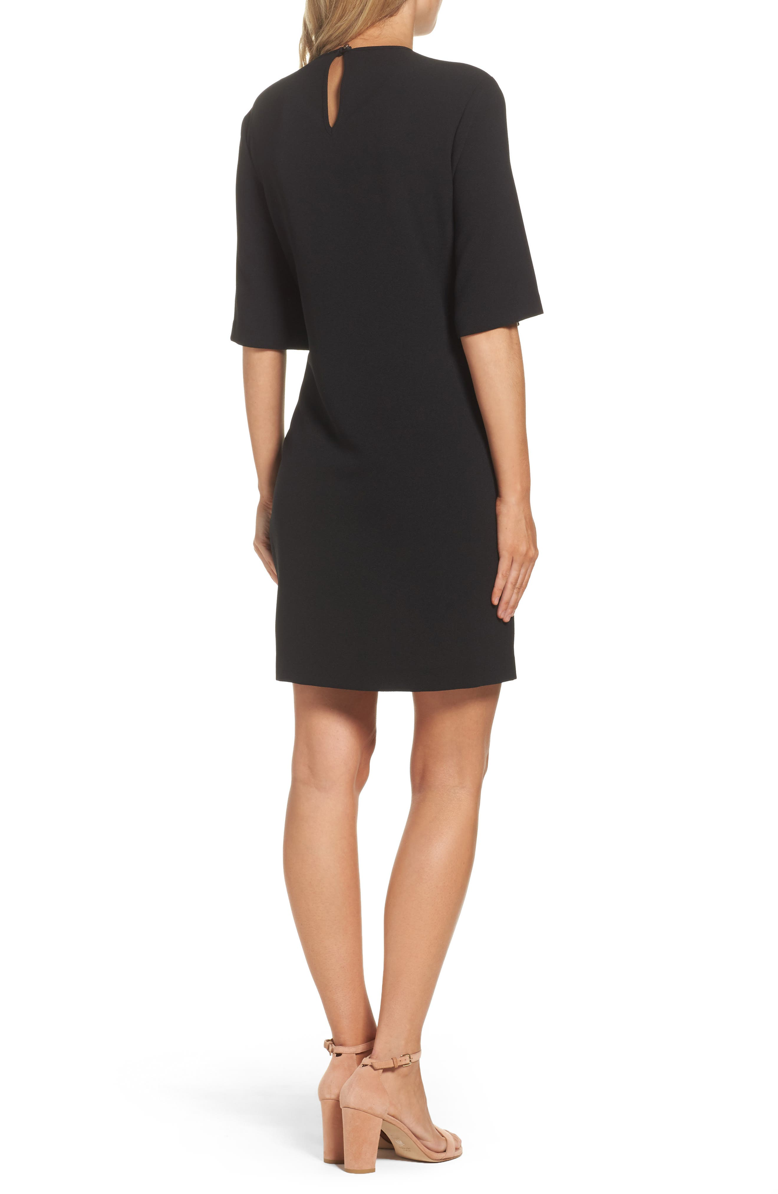 Dara Shift Dress,                             Alternate thumbnail 2, color,                             BLACK