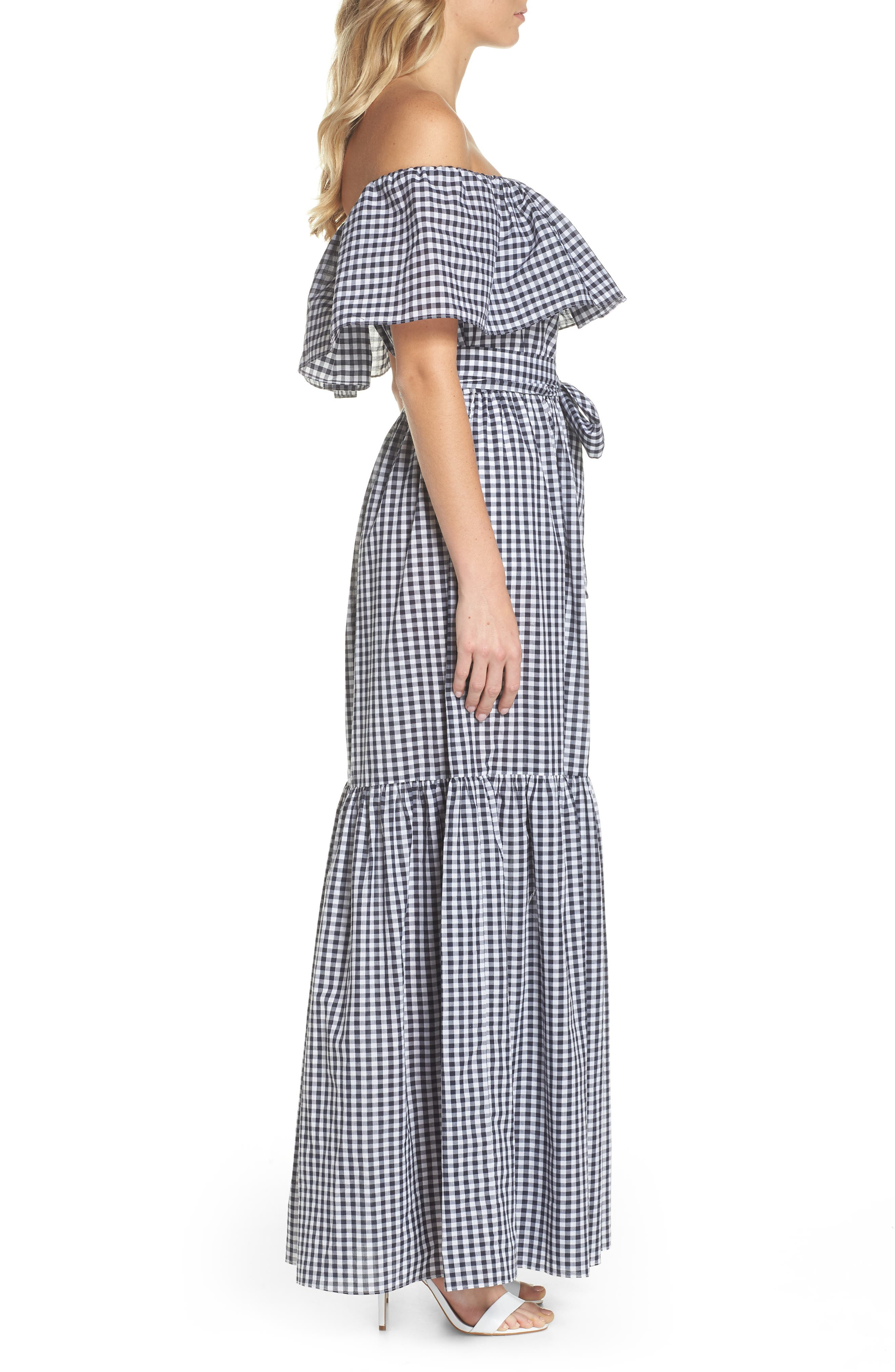 Off the Shoulder Ruffle Gingham Maxi Dress,                             Alternate thumbnail 3, color,                             410