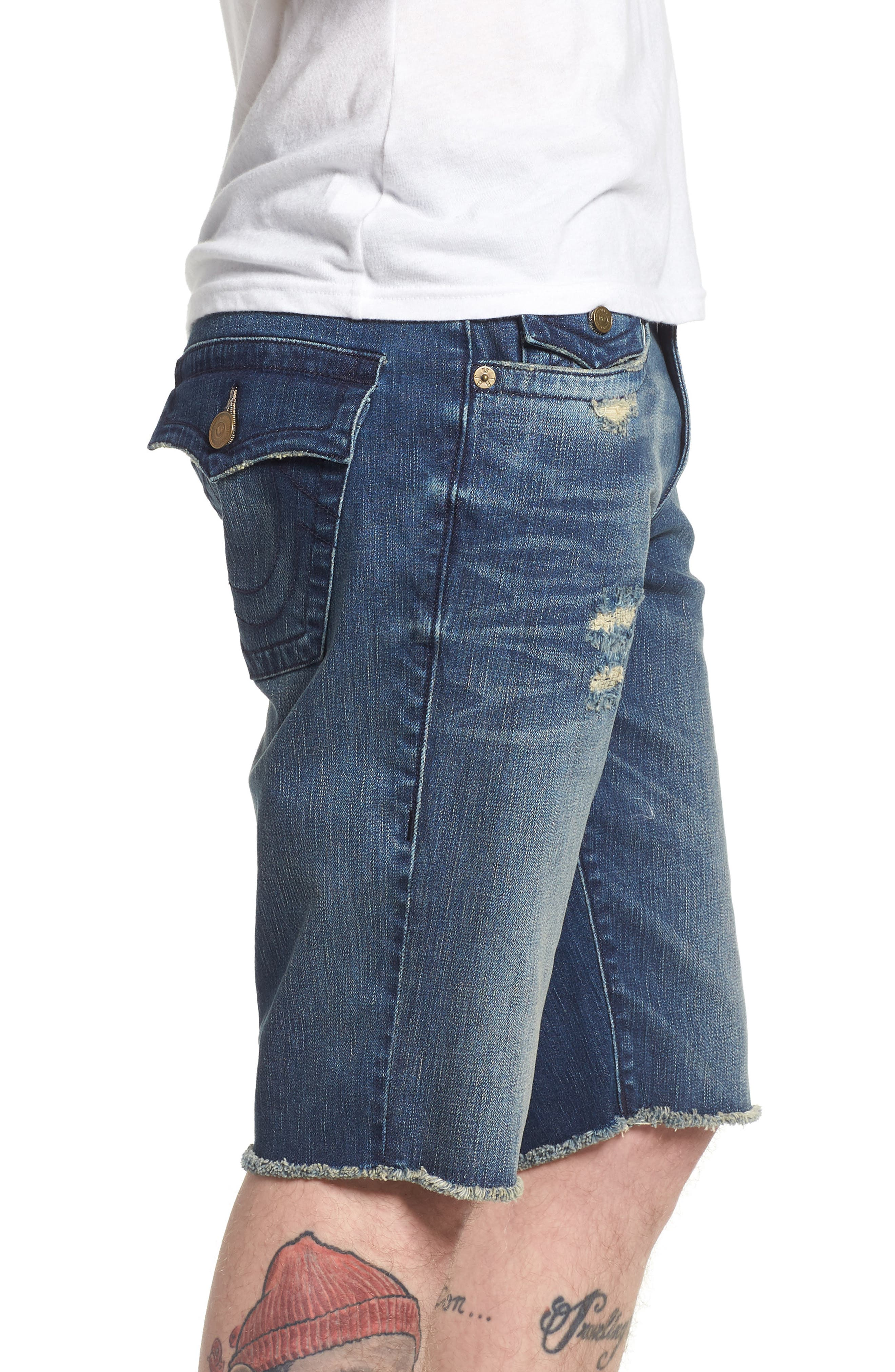 True Religion Brands Jeans Ricky Relaxed Fit Shorts,                             Alternate thumbnail 3, color,                             WORN AZUL