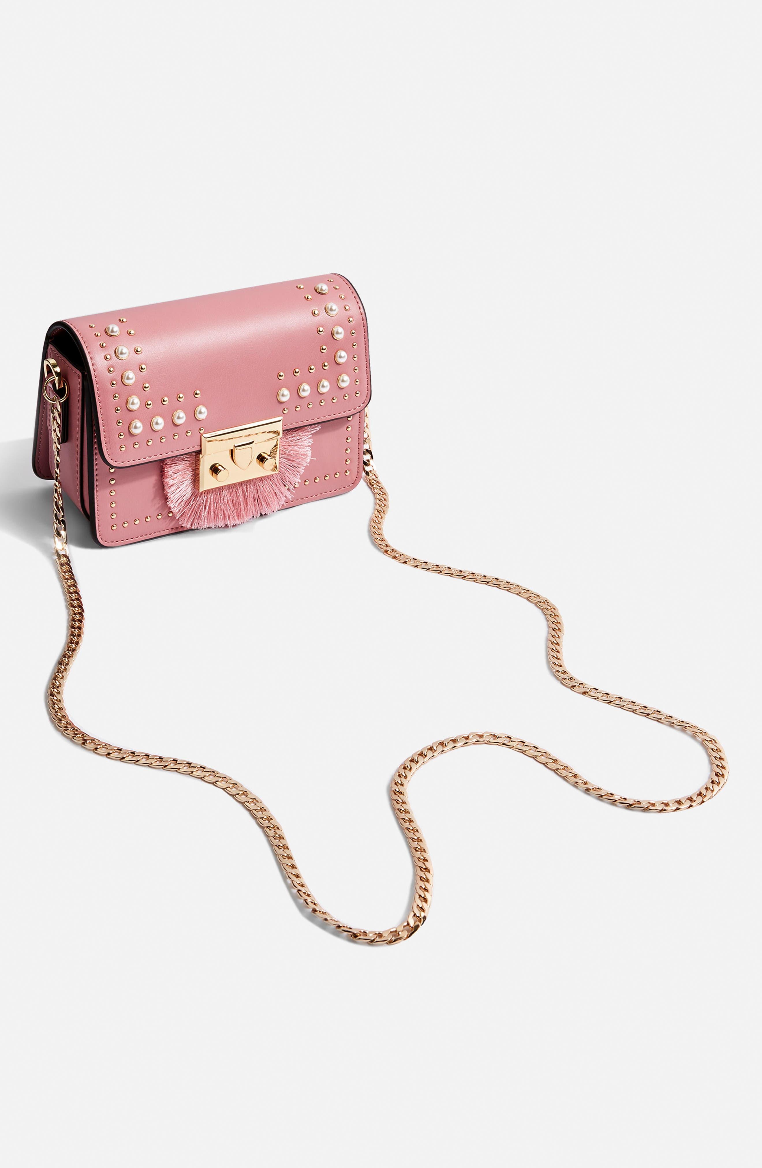 Rosie Imitation Pearl Fringe Crossbody Bag,                             Alternate thumbnail 4, color,                             650