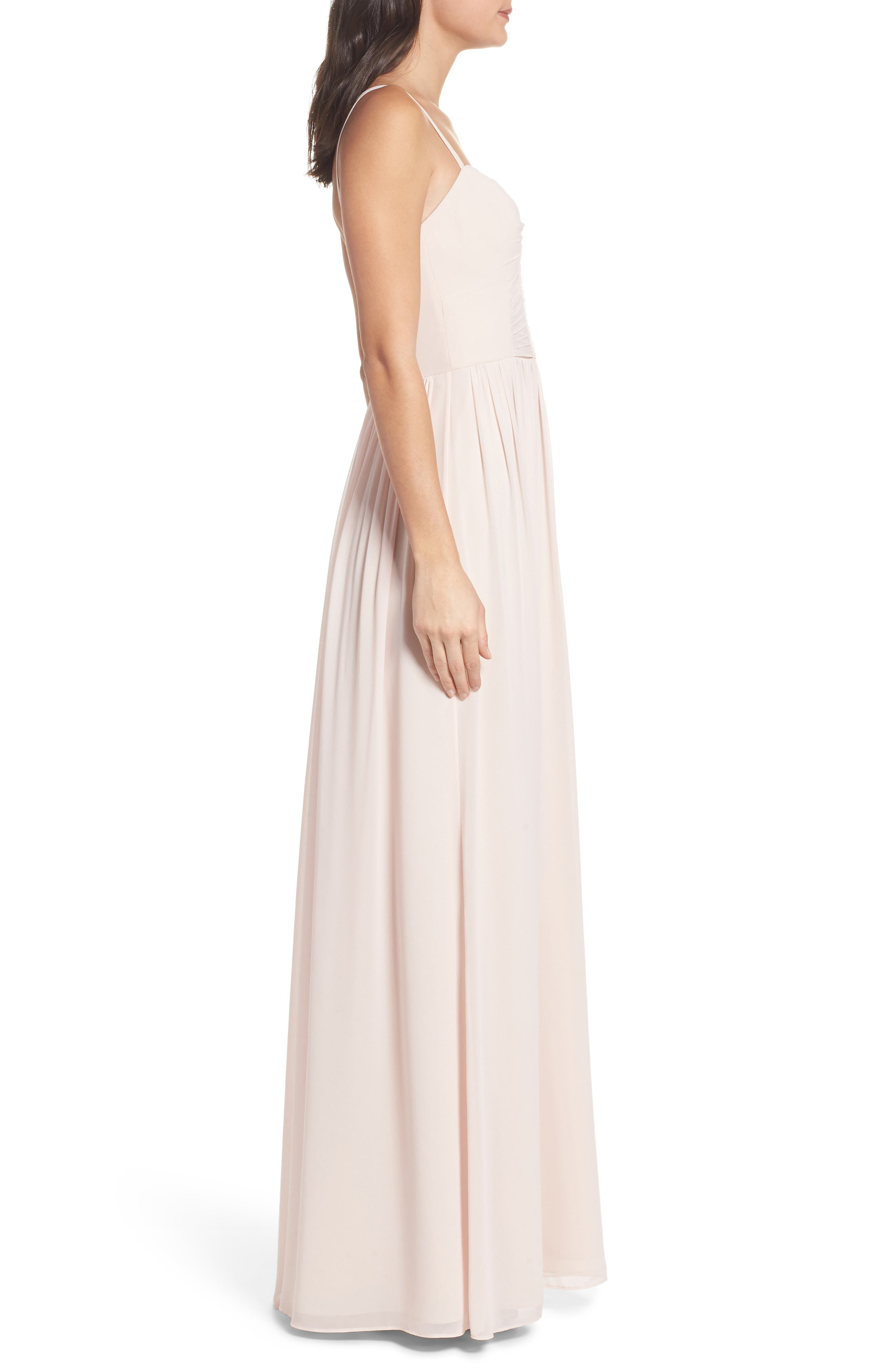 Ruffle Detail A-Line Chiffon Gown,                             Alternate thumbnail 3, color,                             DUSTY ROSE
